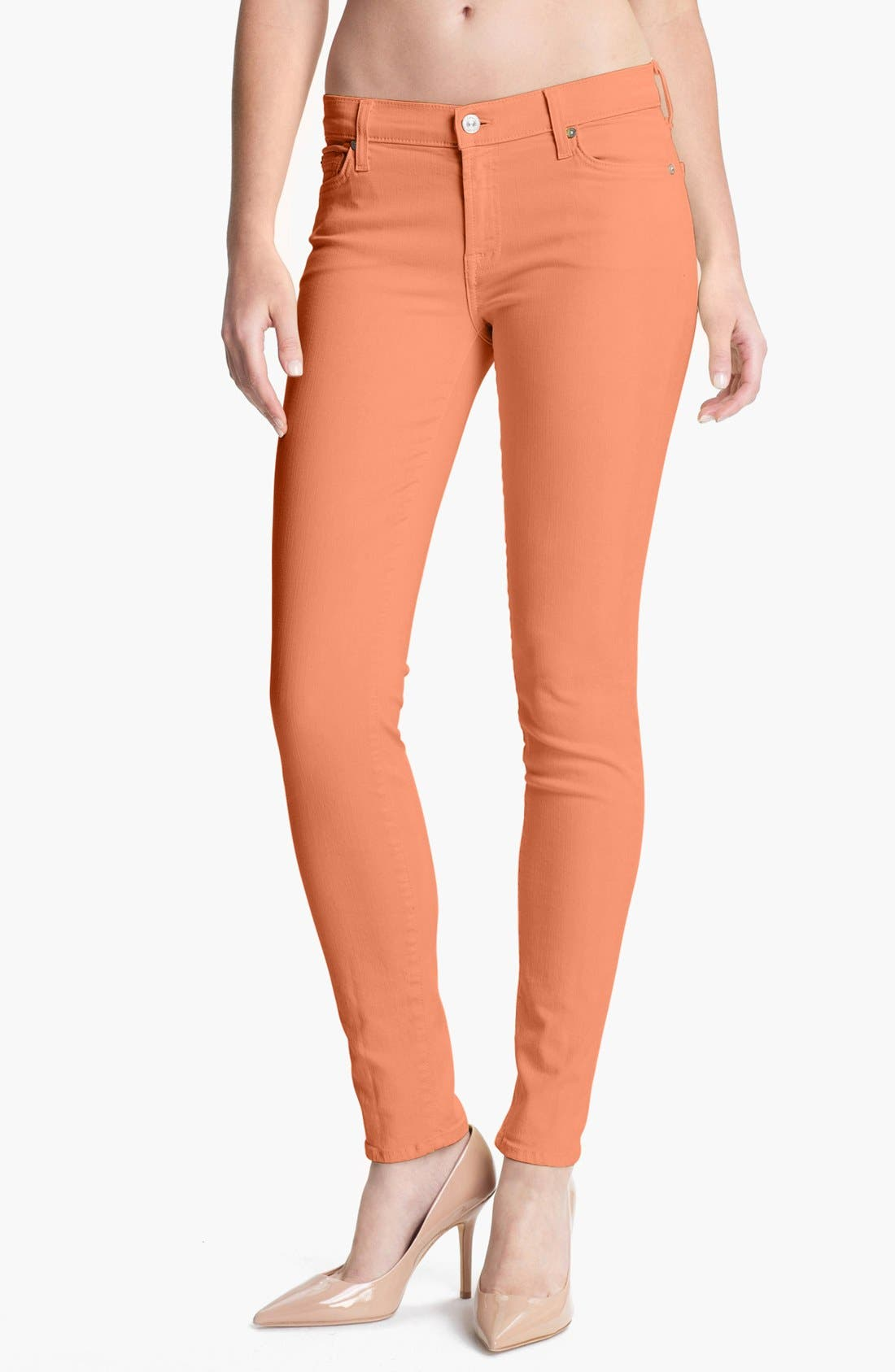 Main Image - 7 For All Mankind® 'Slim Illusion' Skinny Stretch Jeans (Apricot)