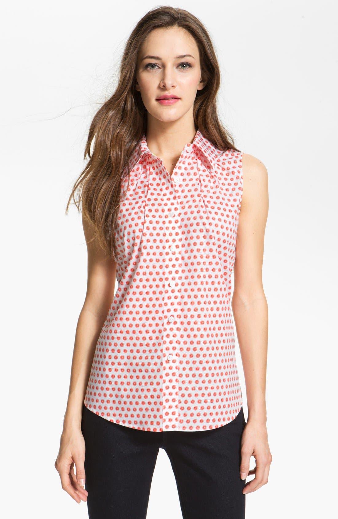 Main Image - Foxcroft 'Citrus Dot' Sleeveless Shirt (Petite)