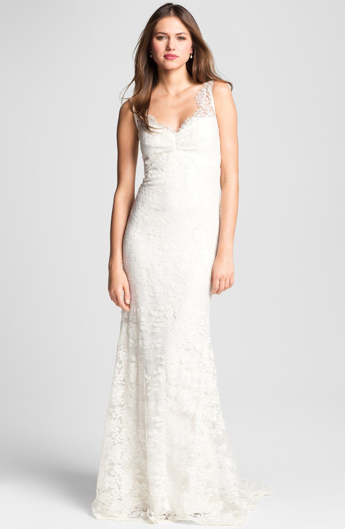 Main Image - Nicole Miller 'Brooke' Sleeveless Lace Trumpet Gown