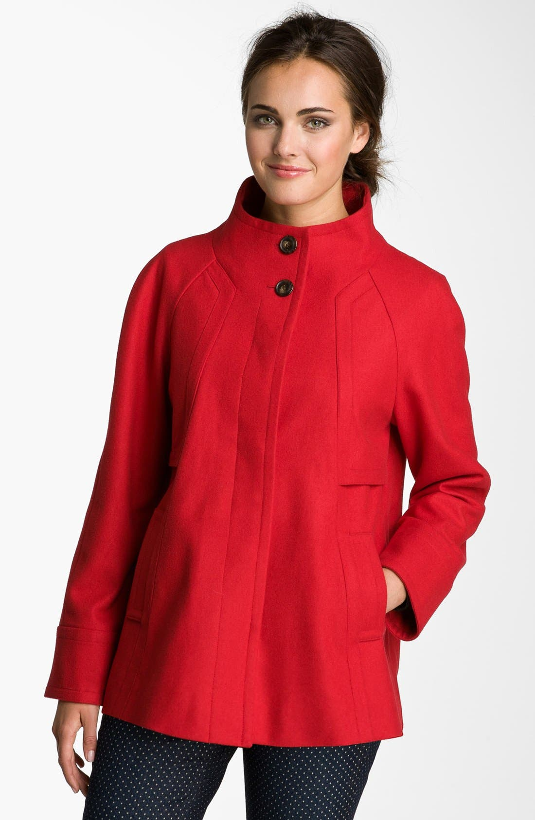 Main Image - Ellen Tracy Stand Collar A-Line Coat (Petite) (Nordstrom Exclusive)