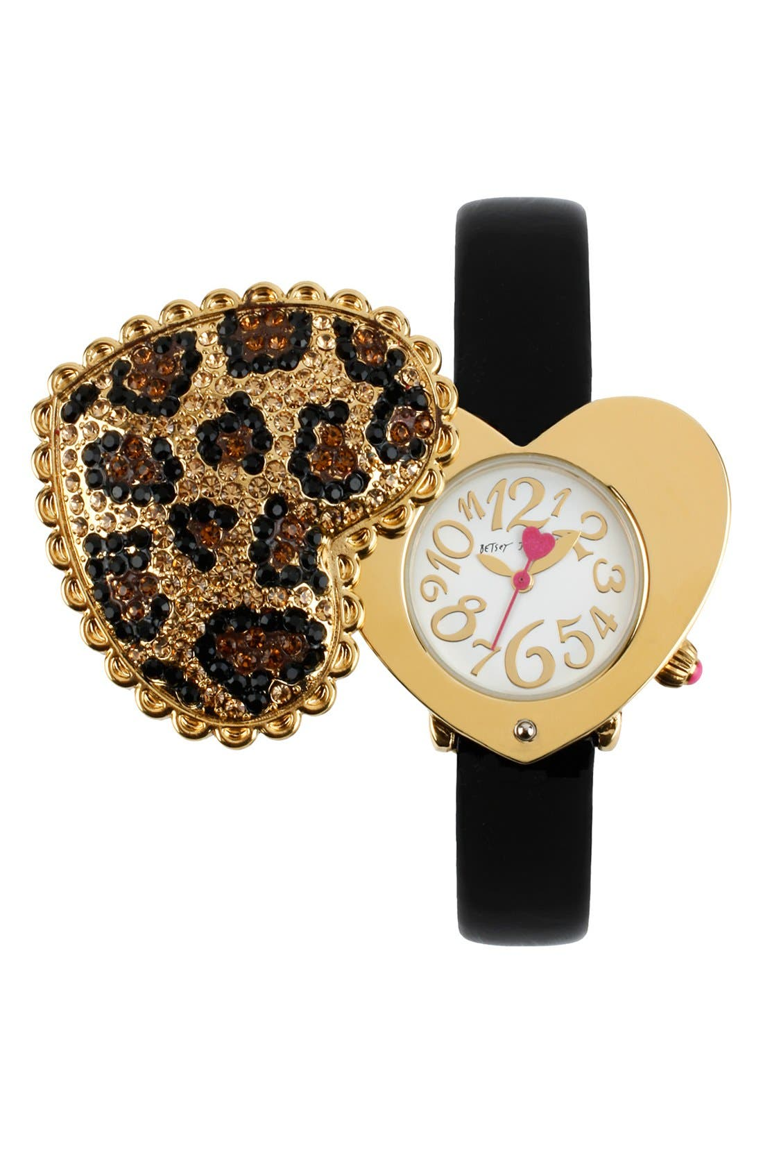 Main Image - Betsey Johnson Pavé Heart Swivel Case Watch, 40mm X 35mm
