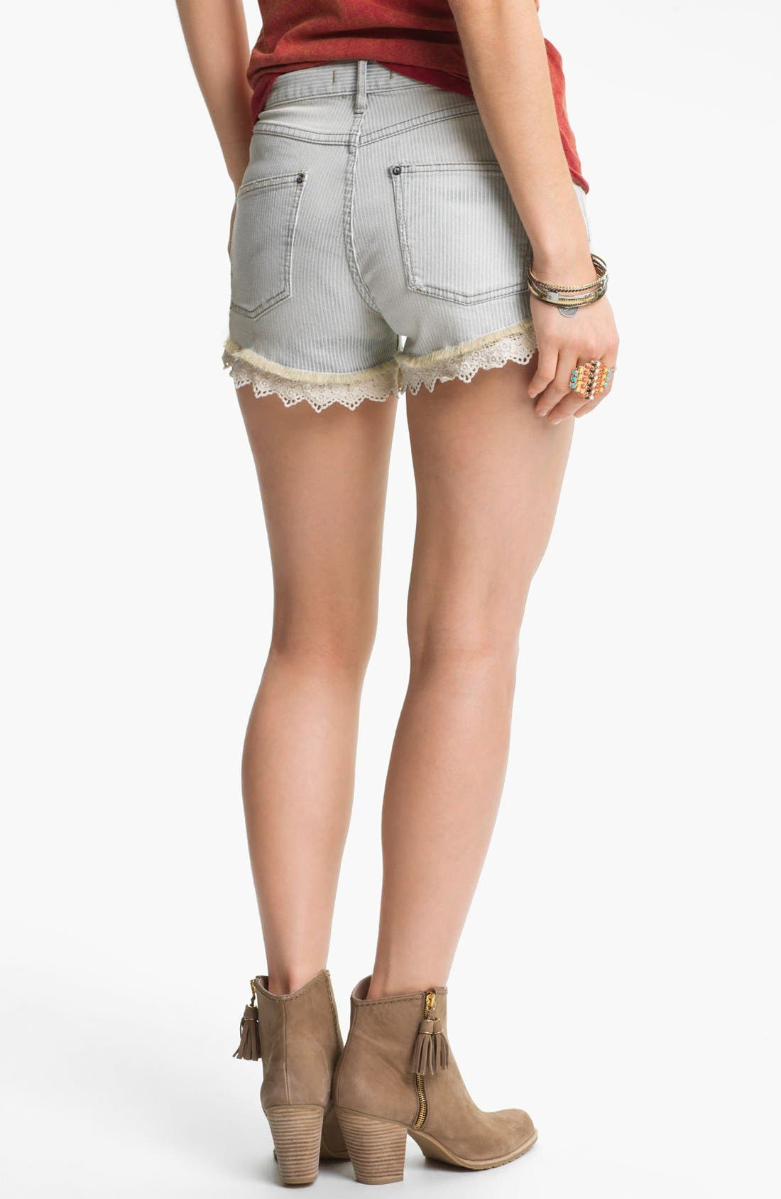 Alternate Image 2  - Free People Lace Trim Railroad Stripe Cutoff Shorts (Pacific)