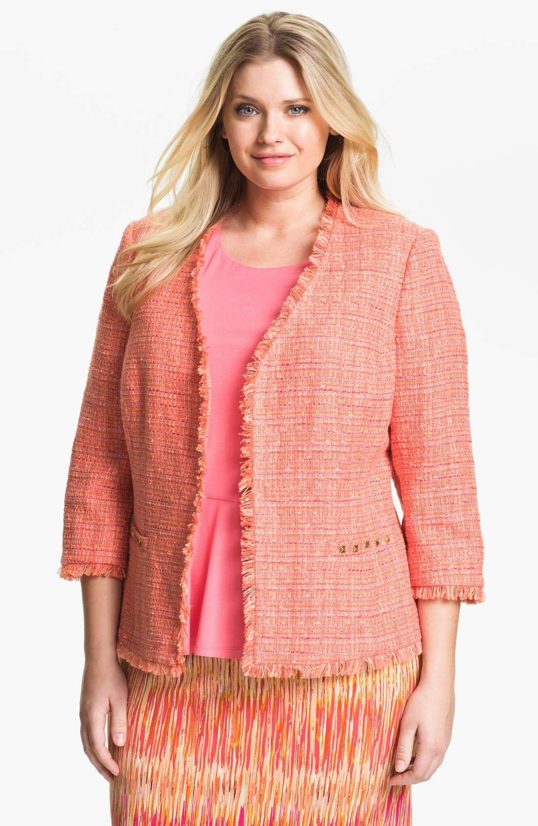 Alternate Image 1 Selected - Vince Camuto Tweed Jacket (Plus Size)