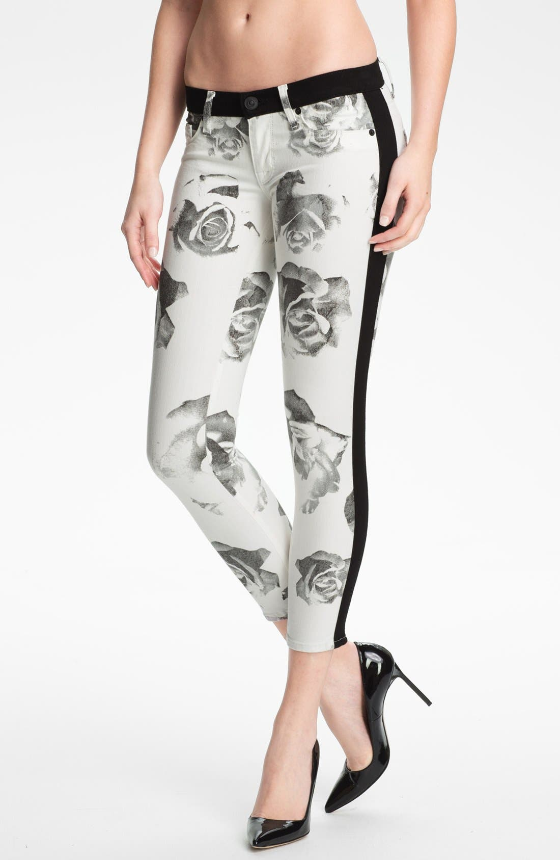 Alternate Image 1 Selected - Hudson Jeans 'Leeloo' Colorblock Crop Skinny Jeans (Black/White Floral)