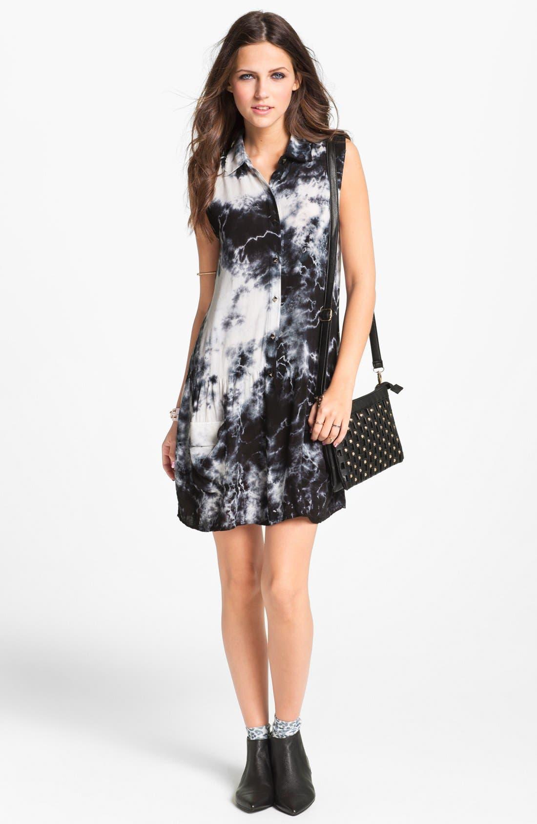 Main Image - Socialite Sleeveless Shirtdress (Juniors) (Online Only)
