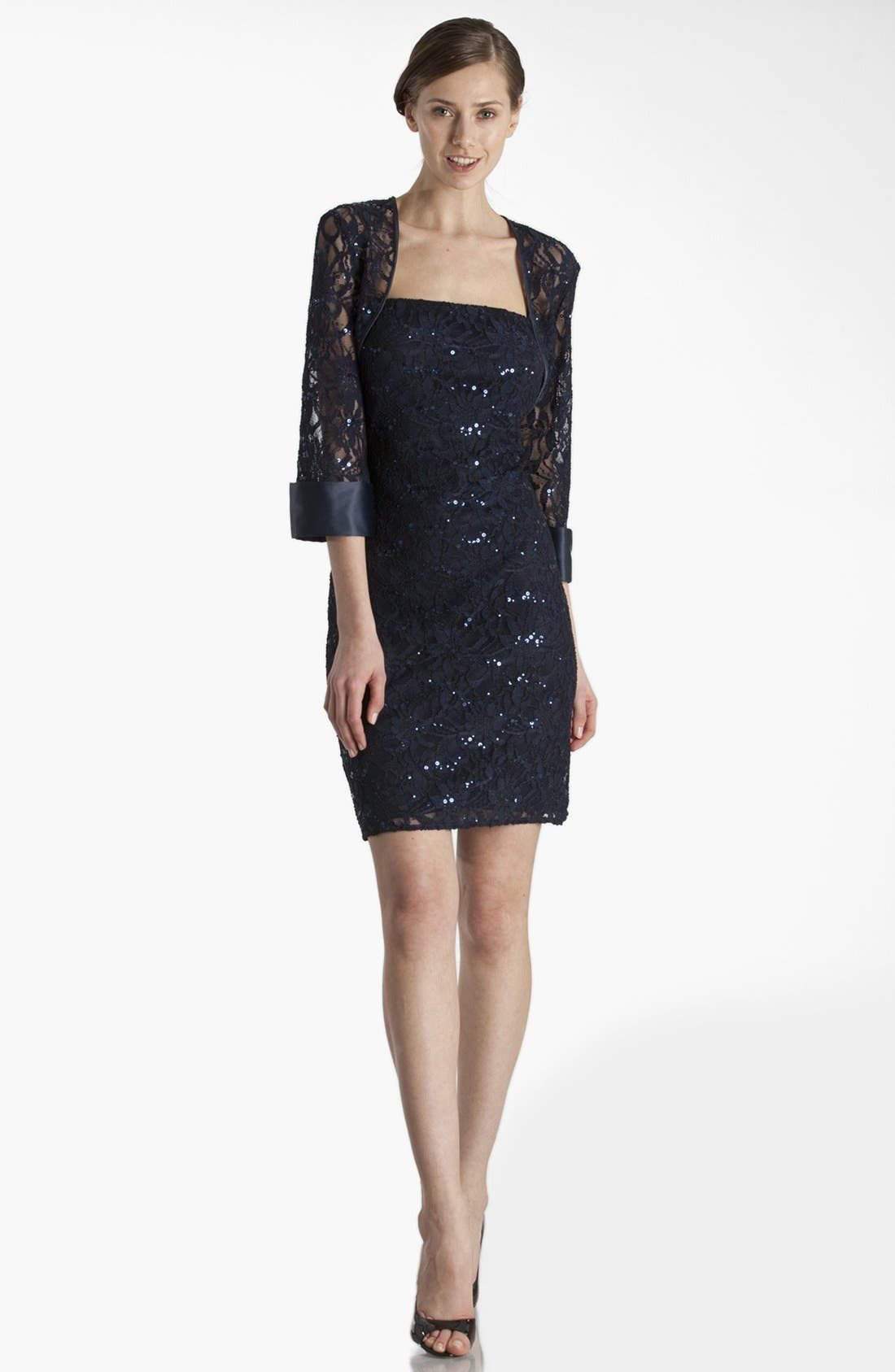 Alternate Image 1 Selected - JS Collections Embellished Lace Dress & Jacket