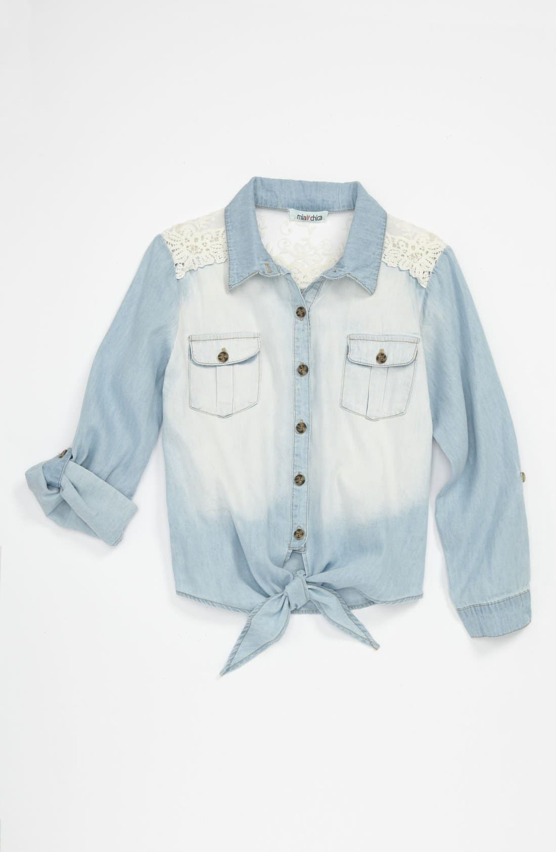 Main Image - Mia Chica Lace Shoulder Top (Big Girls)