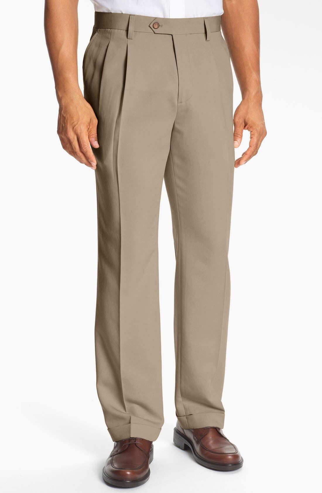 Alternate Image 1 Selected - Cutter & Buck Double Pleated Microfiber Pants