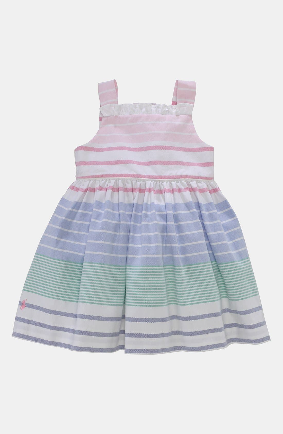 Alternate Image 1 Selected - Ralph Lauren Stripe Oxford Dress & Bloomers (Baby)