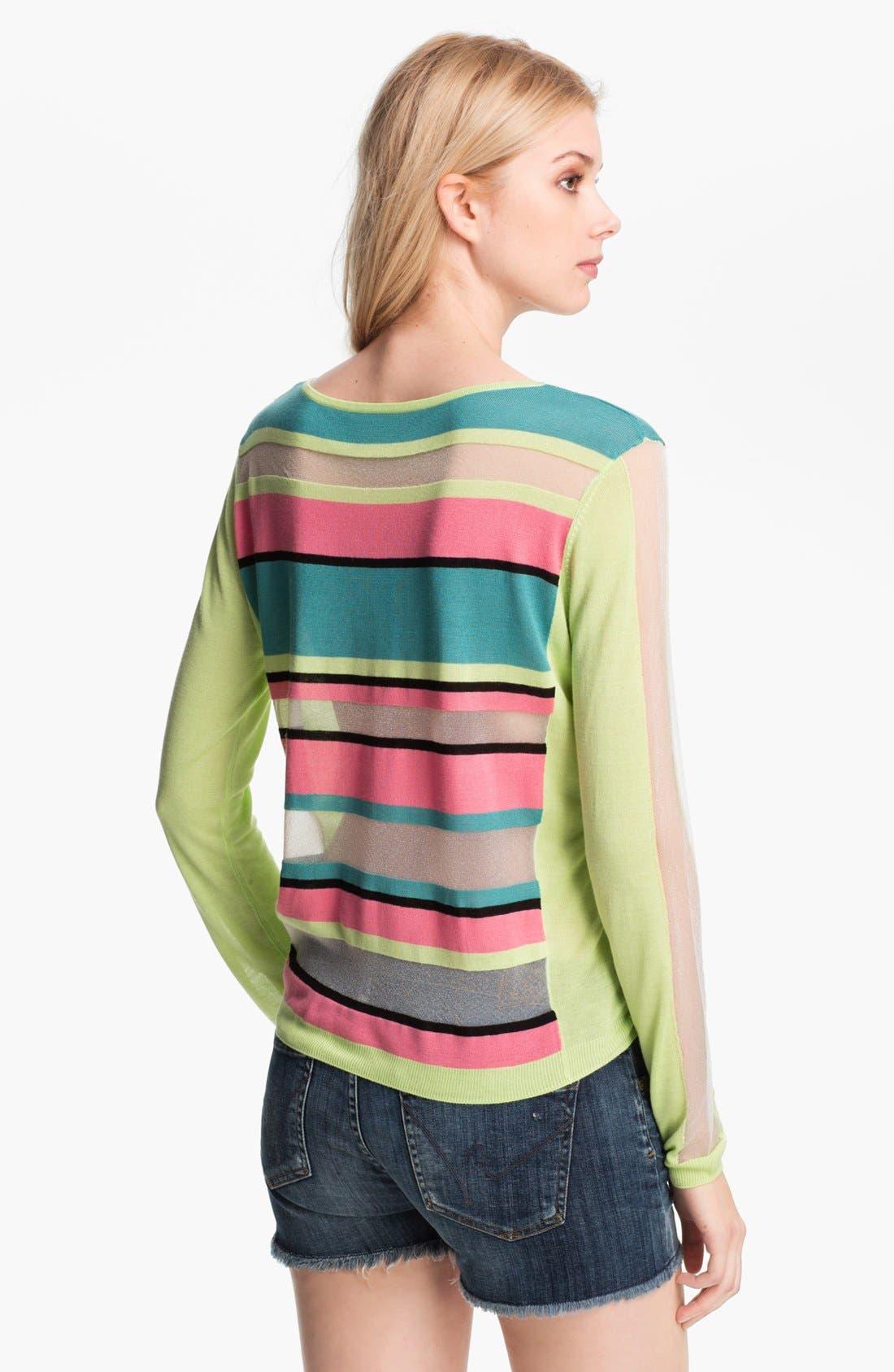 Alternate Image 2  - Trouvé Neon Sheer Stripe Sweater