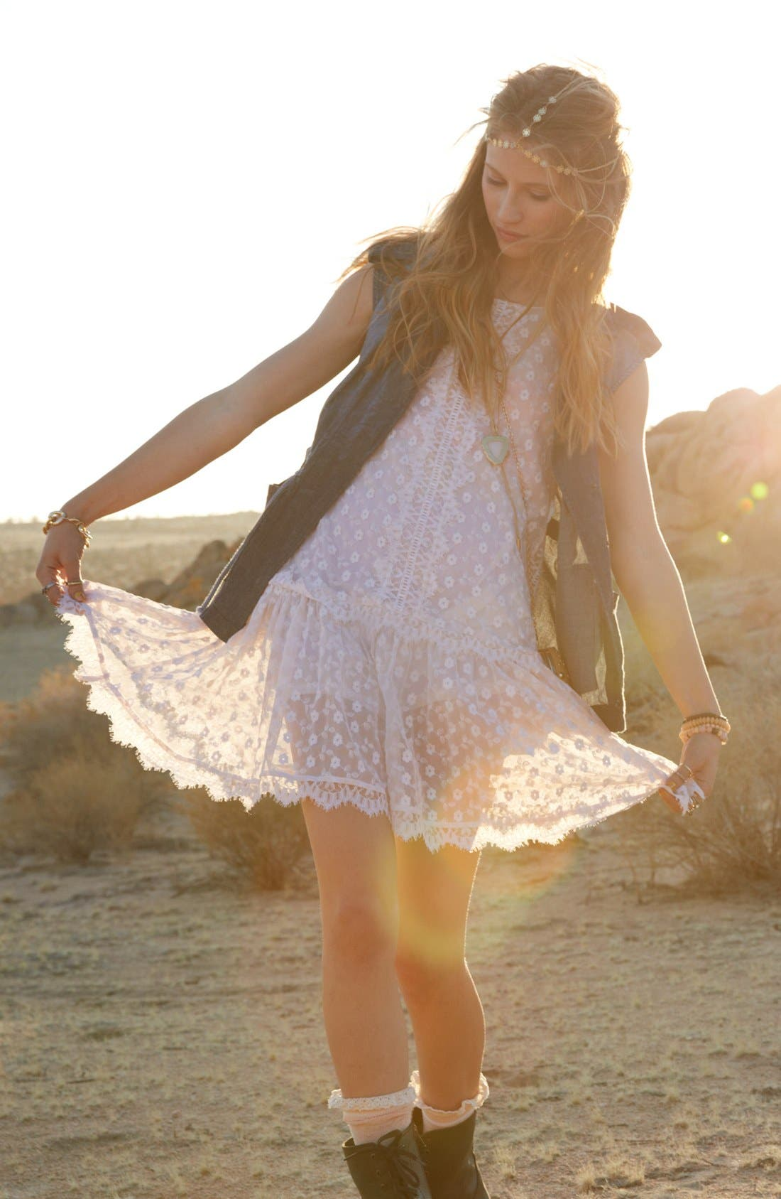 Alternate Image 5  - Fire Drop Waist Lace Dress (Juniors)