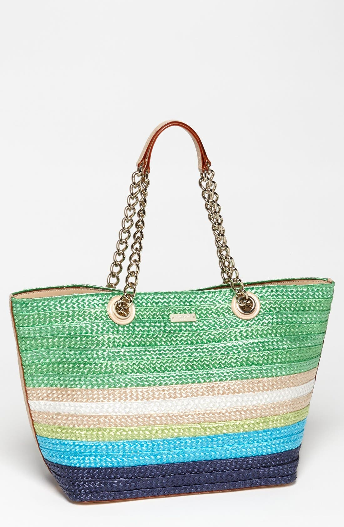Main Image - kate spade new york 'chelsea market - small coal' straw tote