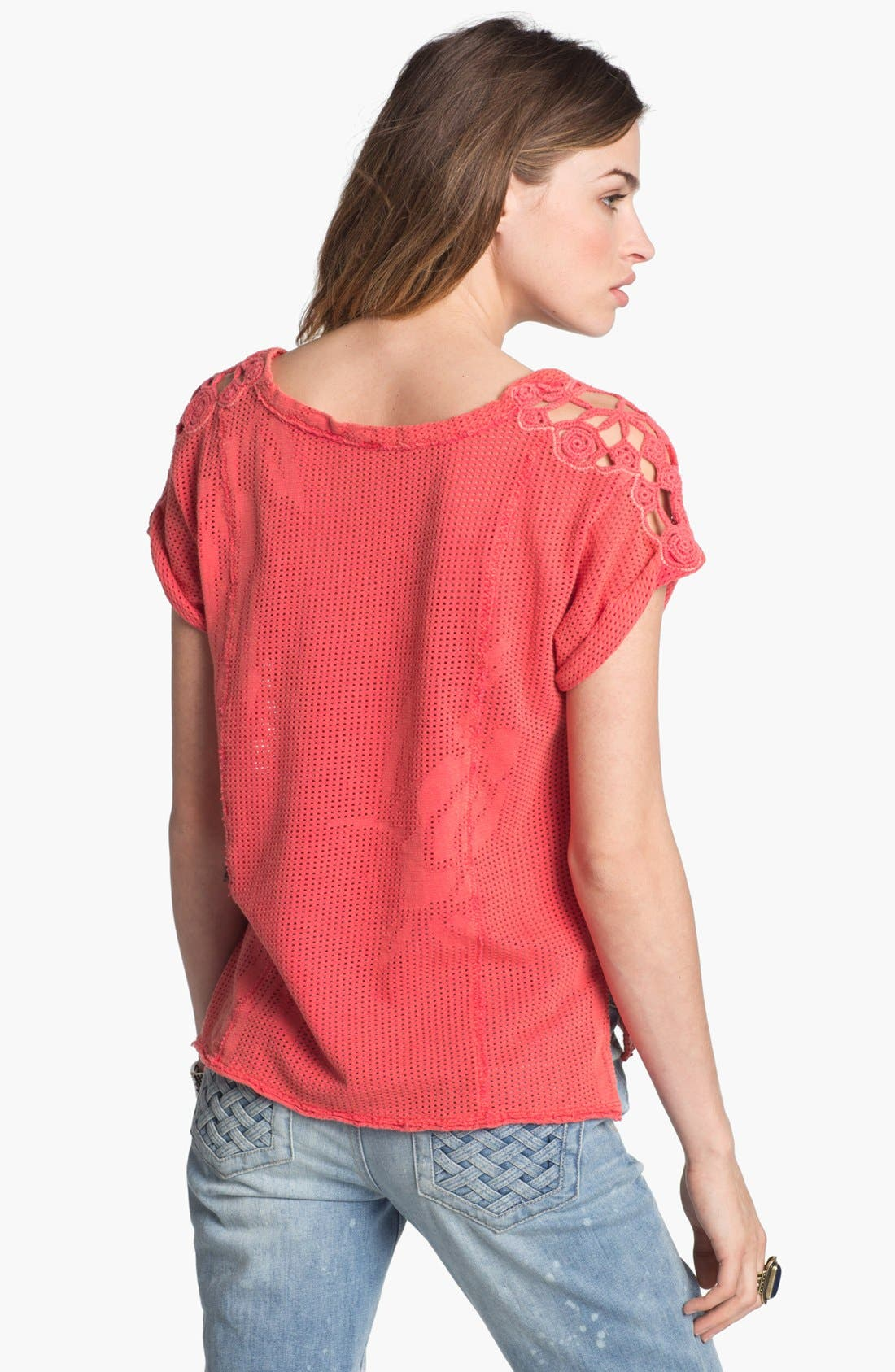 Alternate Image 2  - Free People 'Strawberry Fields' Lace Neck Mesh Top
