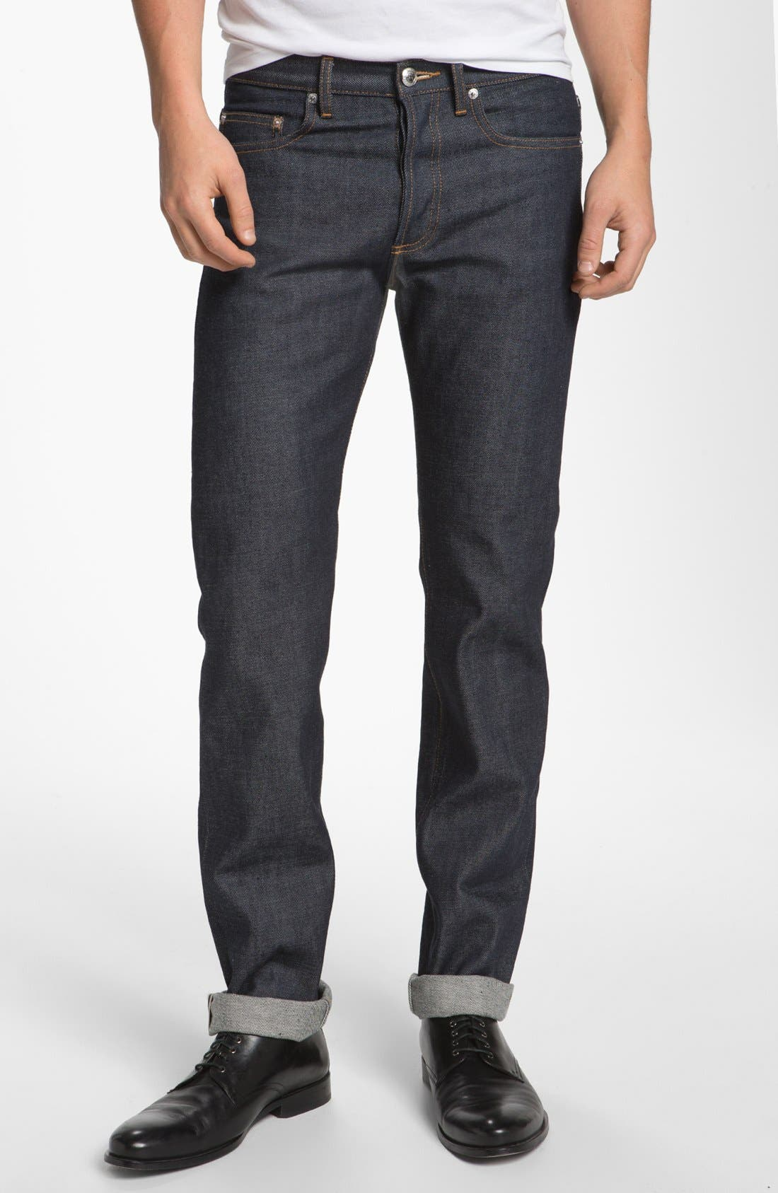 Alternate Image 1 Selected - A.P.C. Petit New Standard Slim Straight Leg Selvedge Jeans