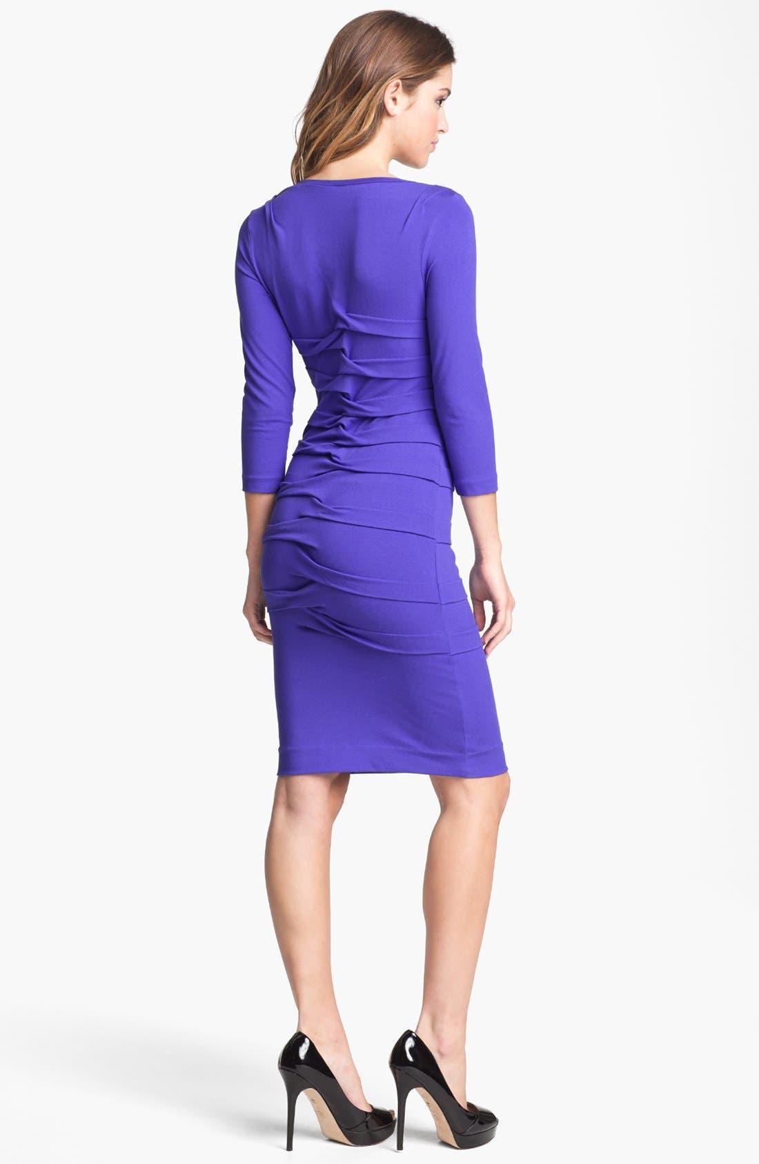 Alternate Image 2  - Nicole Miller Long Sleeve Pleated Jersey Dress