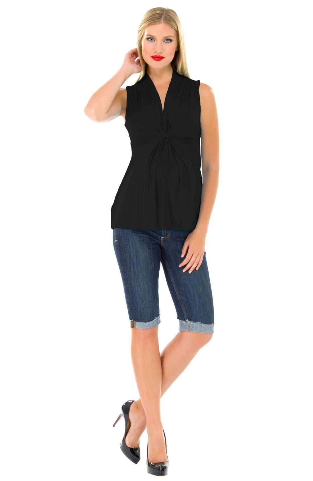 Alternate Image 4  - Olian Tie Front Maternity Tunic