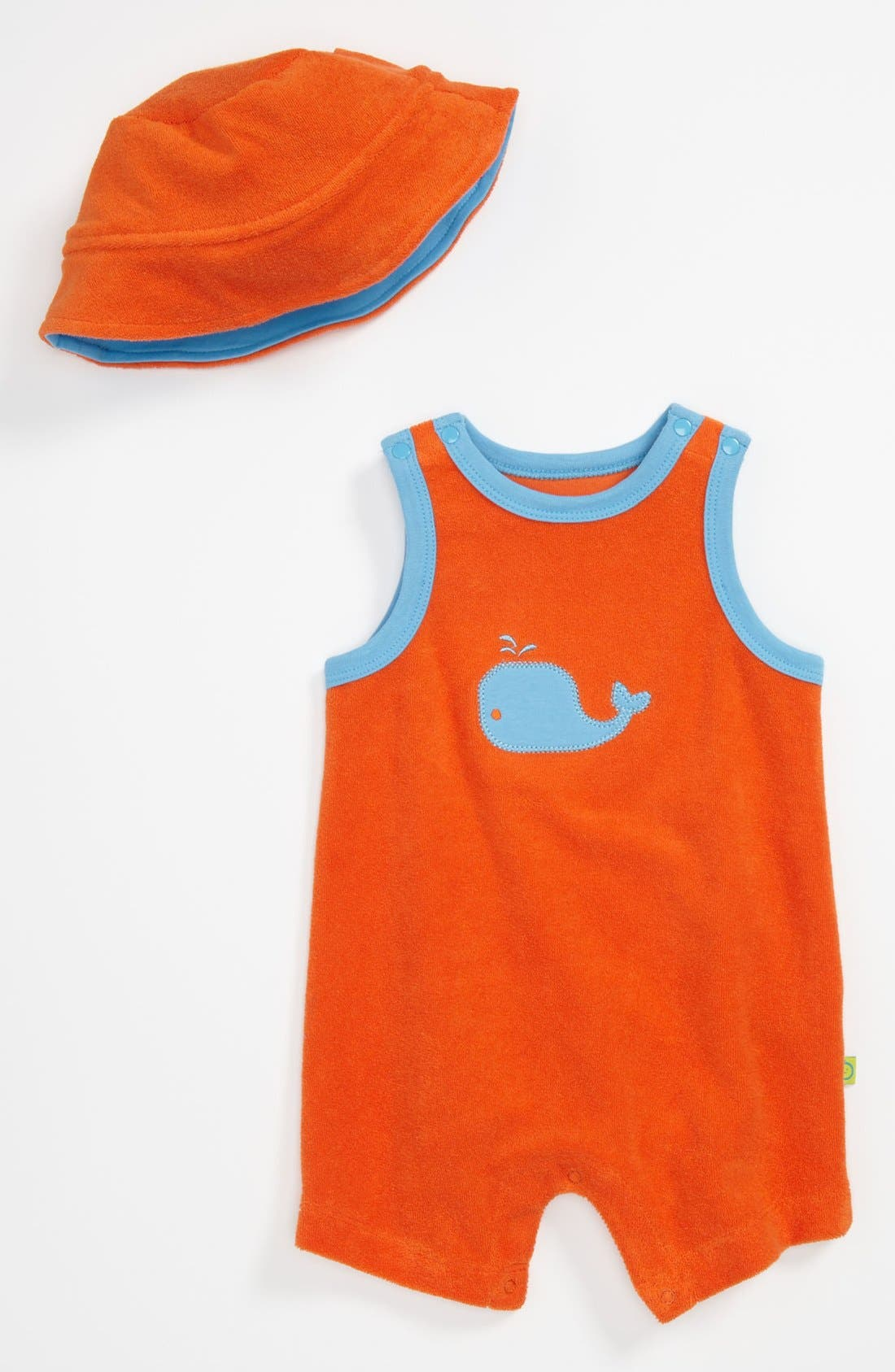 Main Image - Offspring 'Flame Whale' Romper & Hat (Baby)
