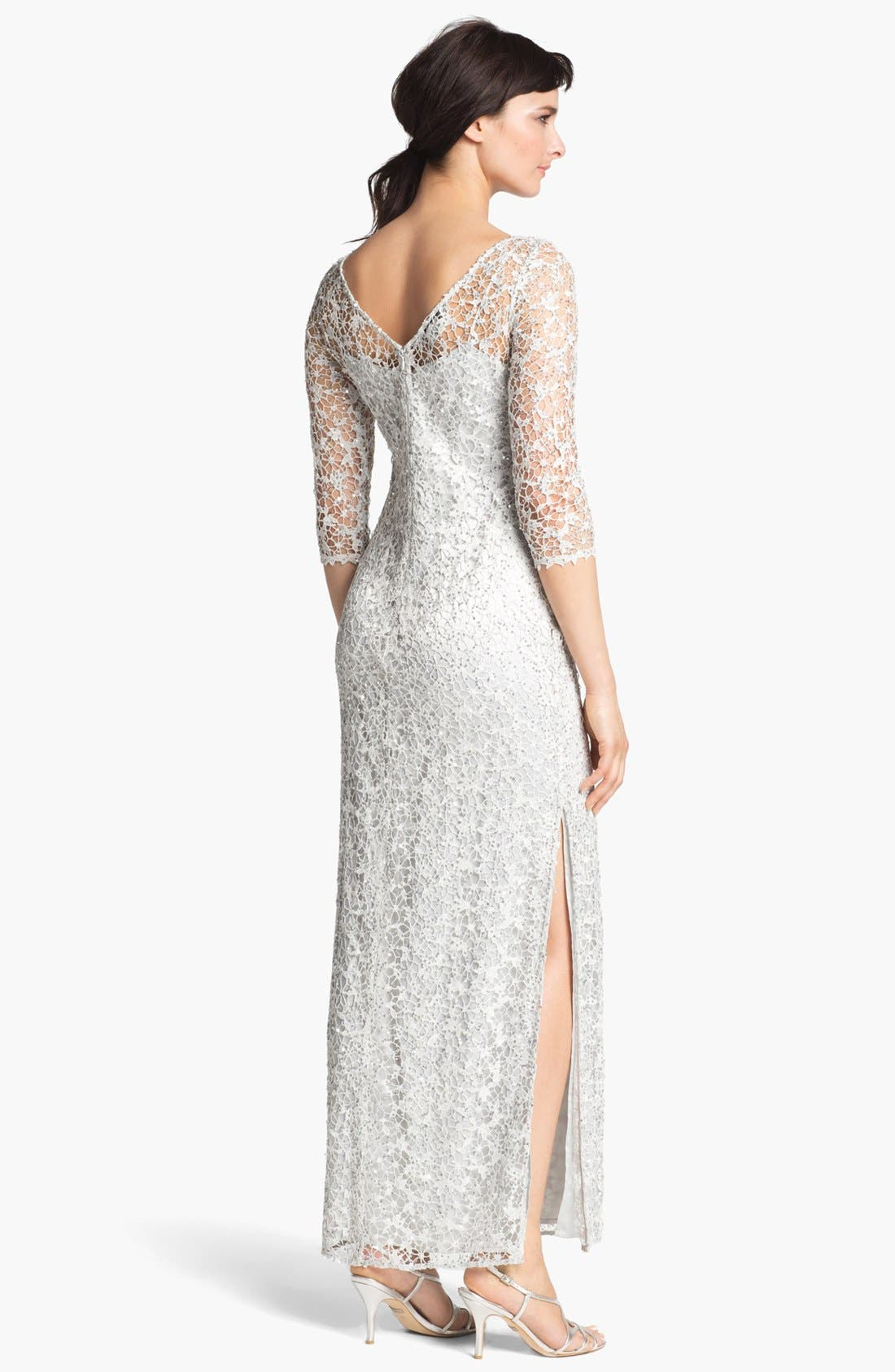 Alternate Image 2  - Kay Unger Embellished Illusion Neck Lace Gown