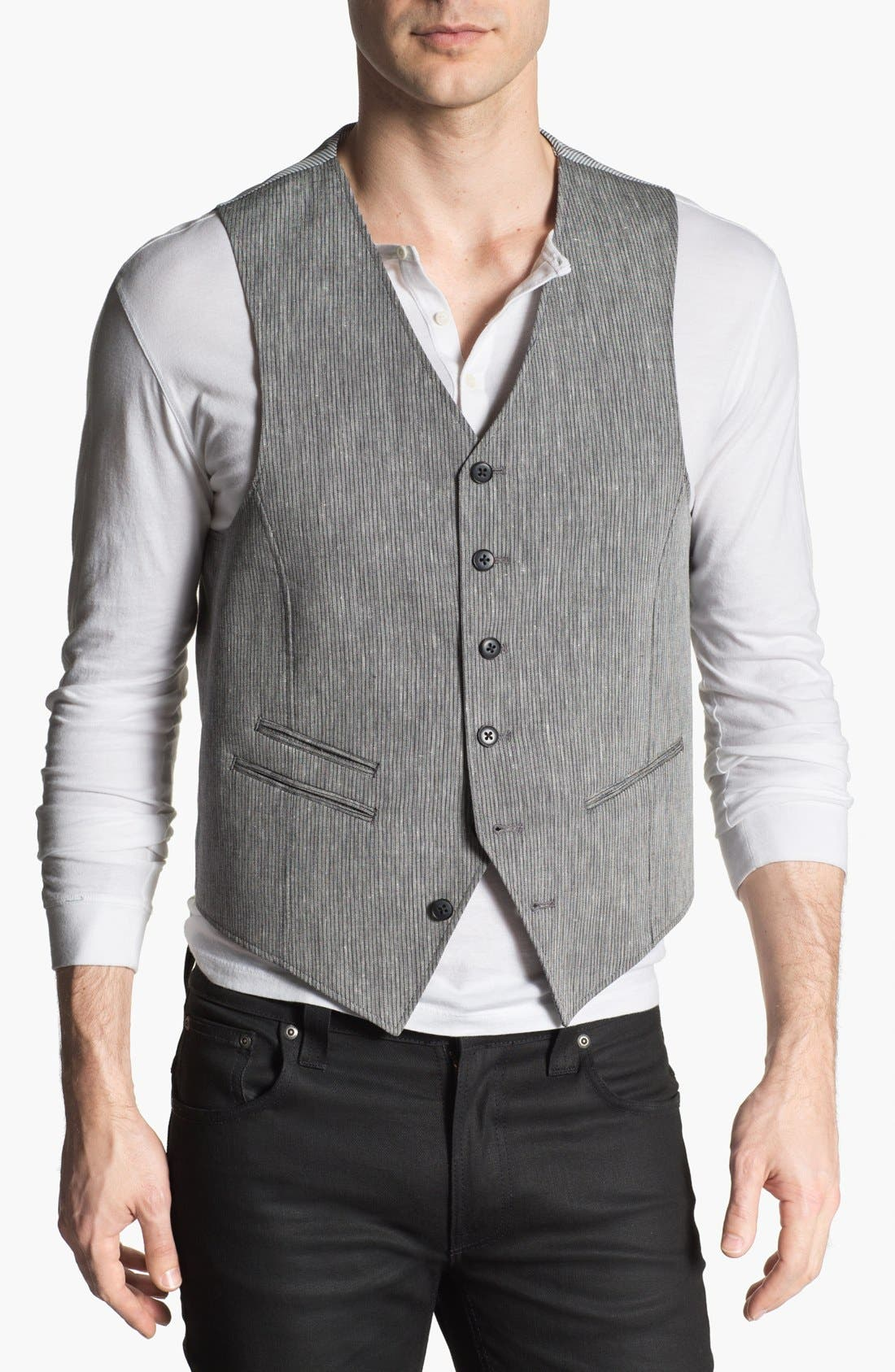 Alternate Image 1 Selected - John Varvatos Star USA Red Label Stripe Linen Blend Vest