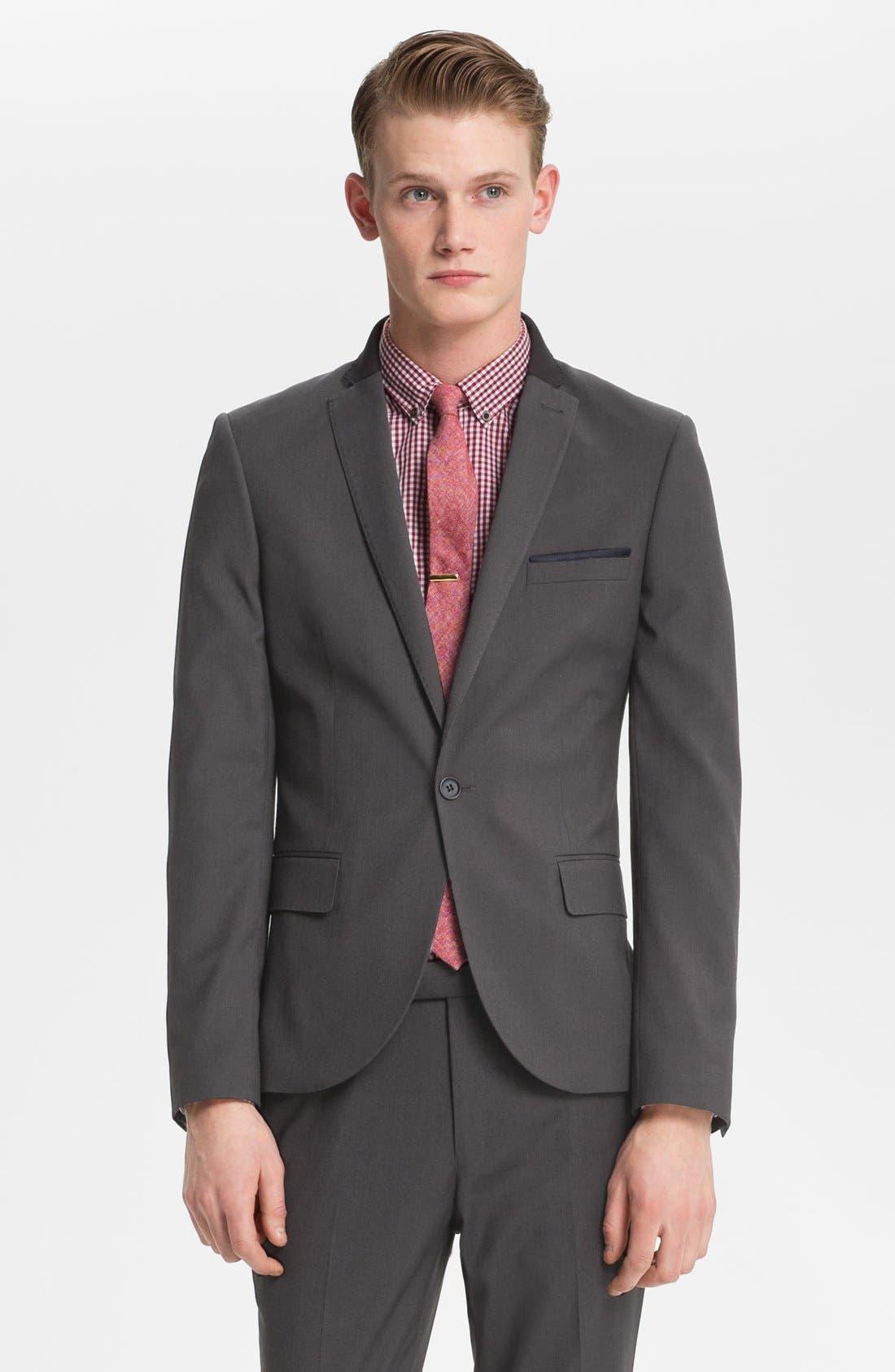 Alternate Image 1 Selected - Topman Skinny One Button Blazer