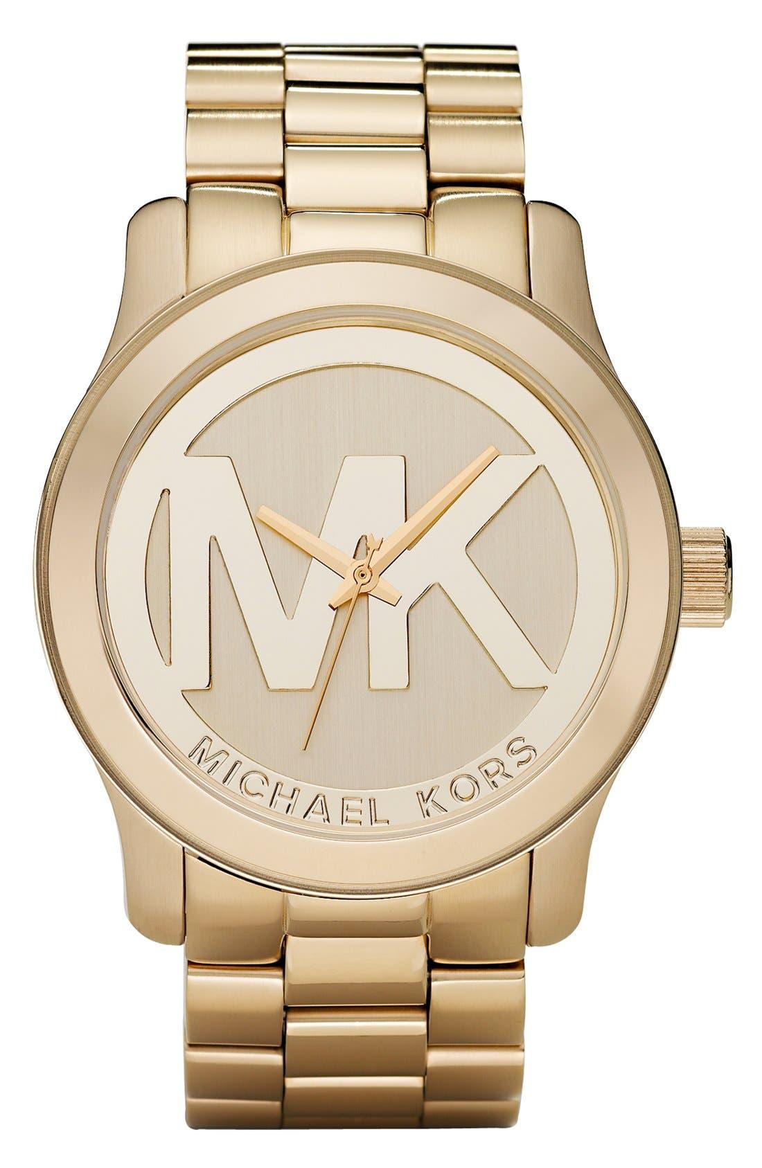 Michael Kors 'Runway' Logo Dial Watch,                             Main thumbnail 1, color,                             Gold