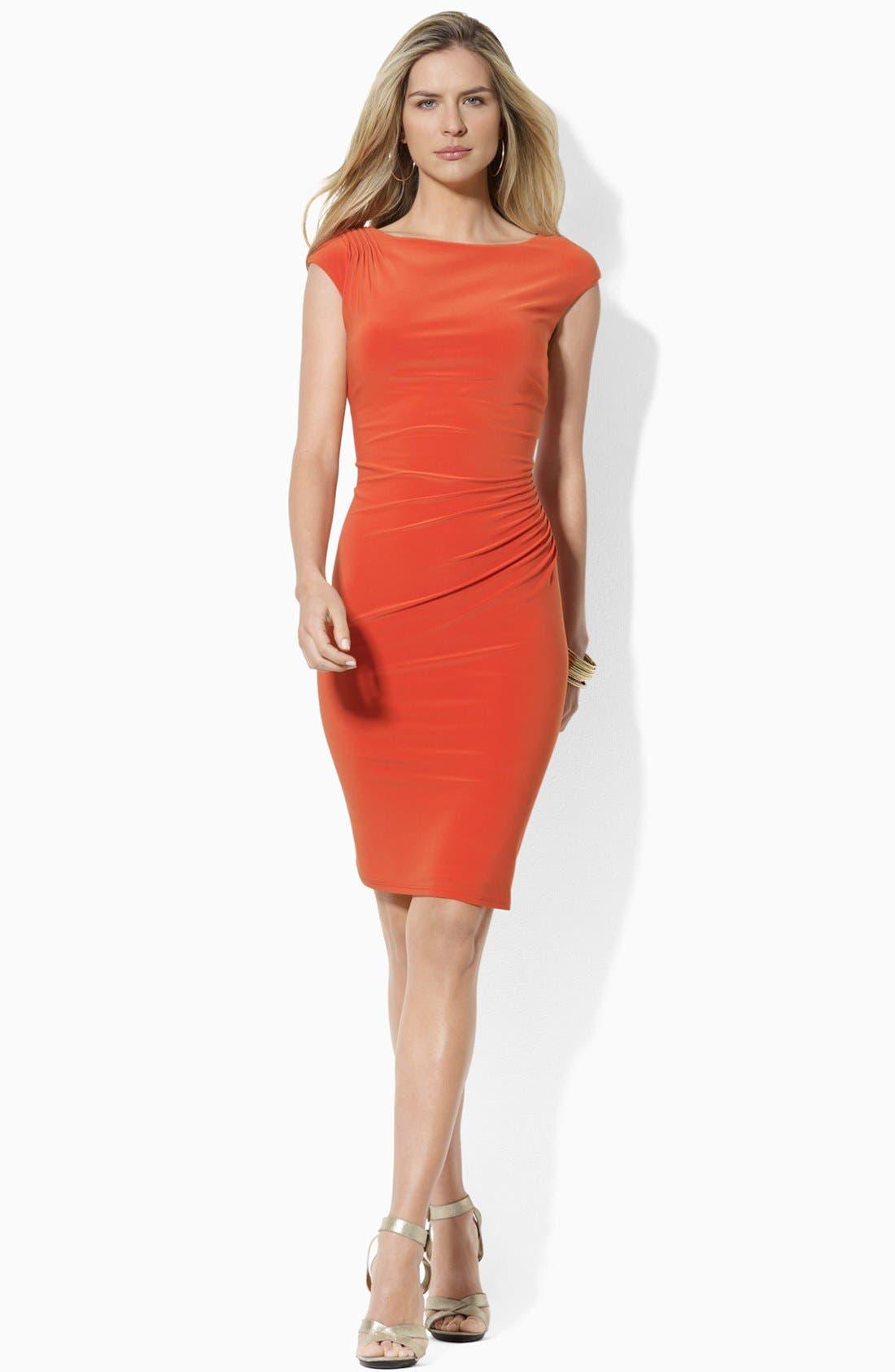 Main Image - Lauren Ralph Lauren Cap Sleeve Jersey Sheath Dress (Petite)