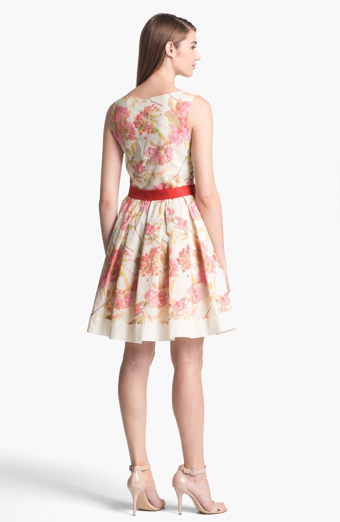 Alternate Image 2  - Taylor Dresses Floral Print Fit & Flare Dress