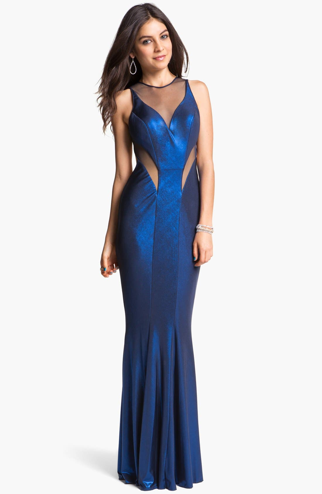 Main Image - Faviana Foil Jersey Mermaid Gown (Online Only)