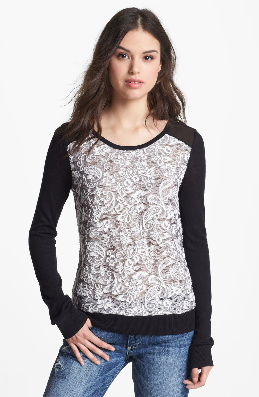 Alternate Image 1 Selected - Hinge® Lace Front Sweater