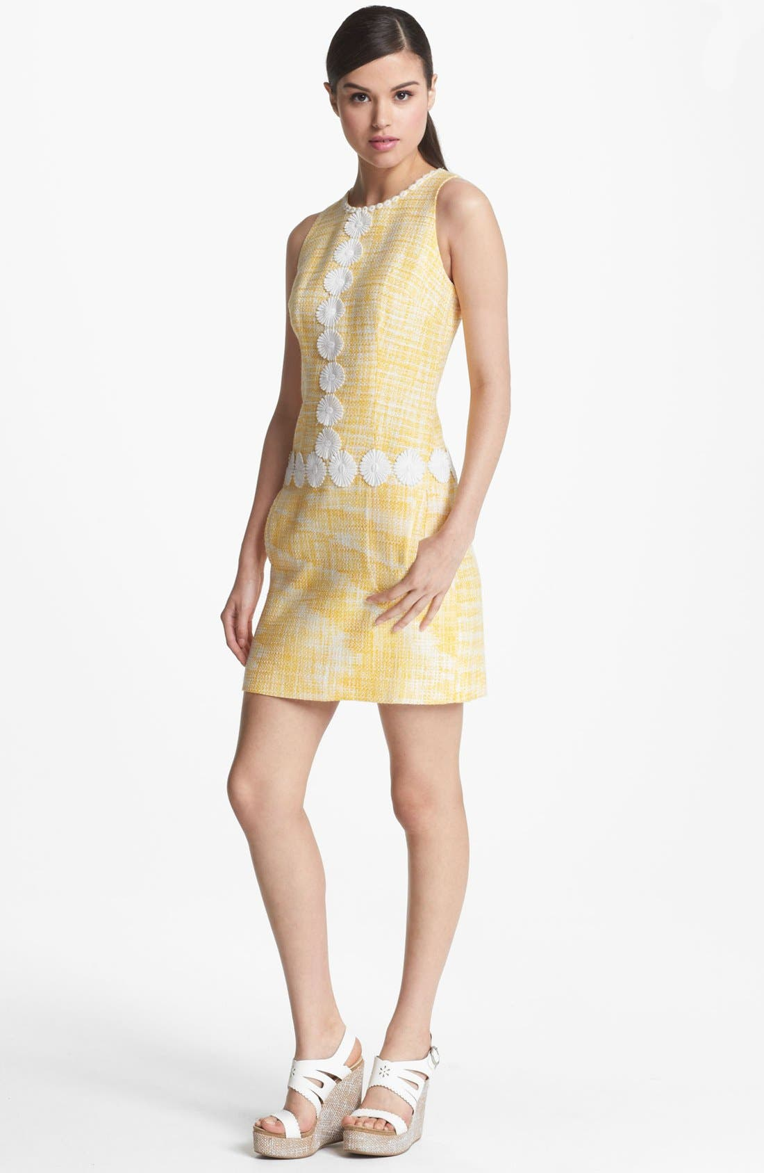 Main Image - Laundry by Shelli Segal Daisy Trim Bouclé Dress
