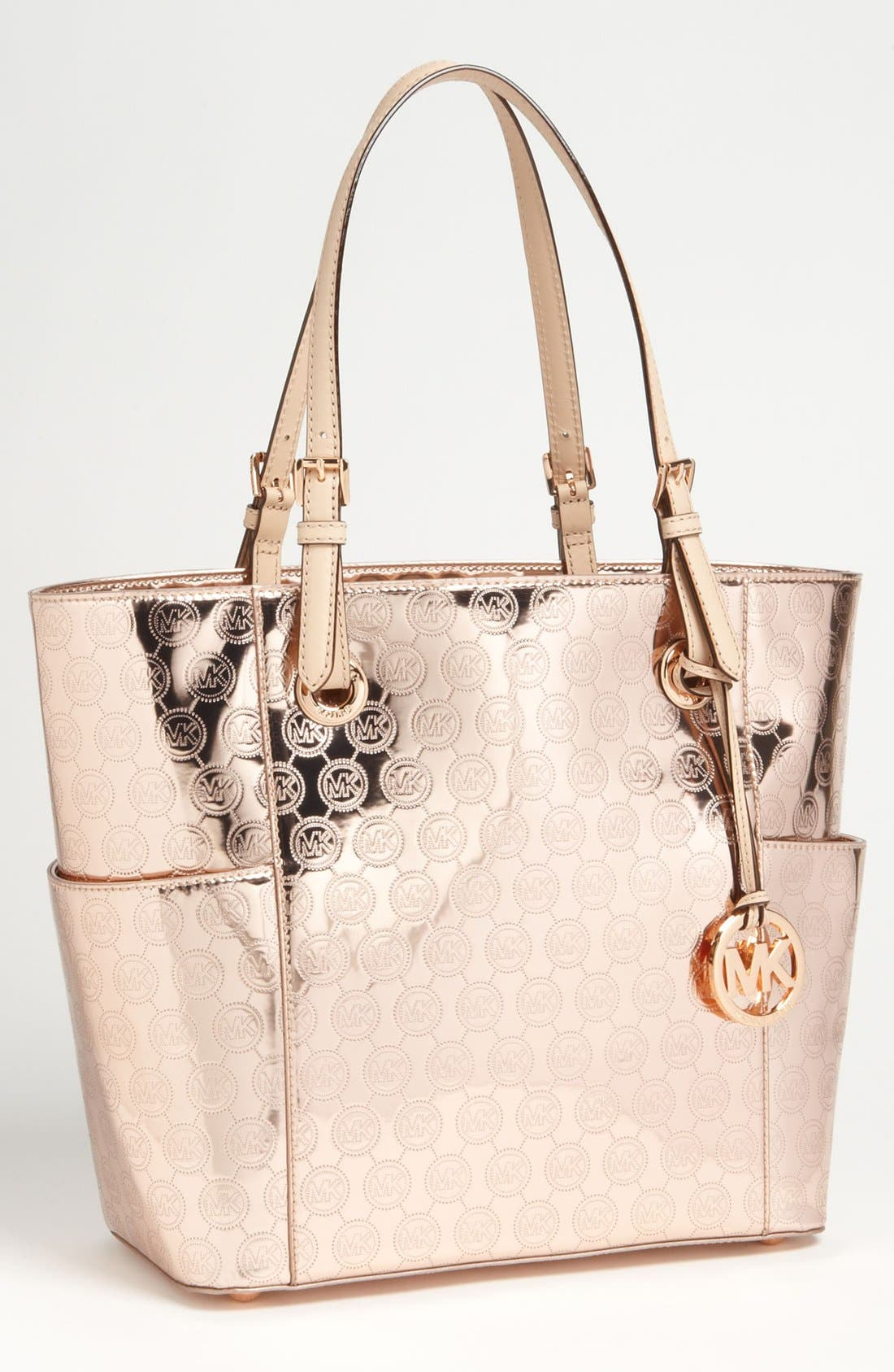 'Monopatent Signature – Medium' Tote,                             Main thumbnail 1, color,                             Rose Gold