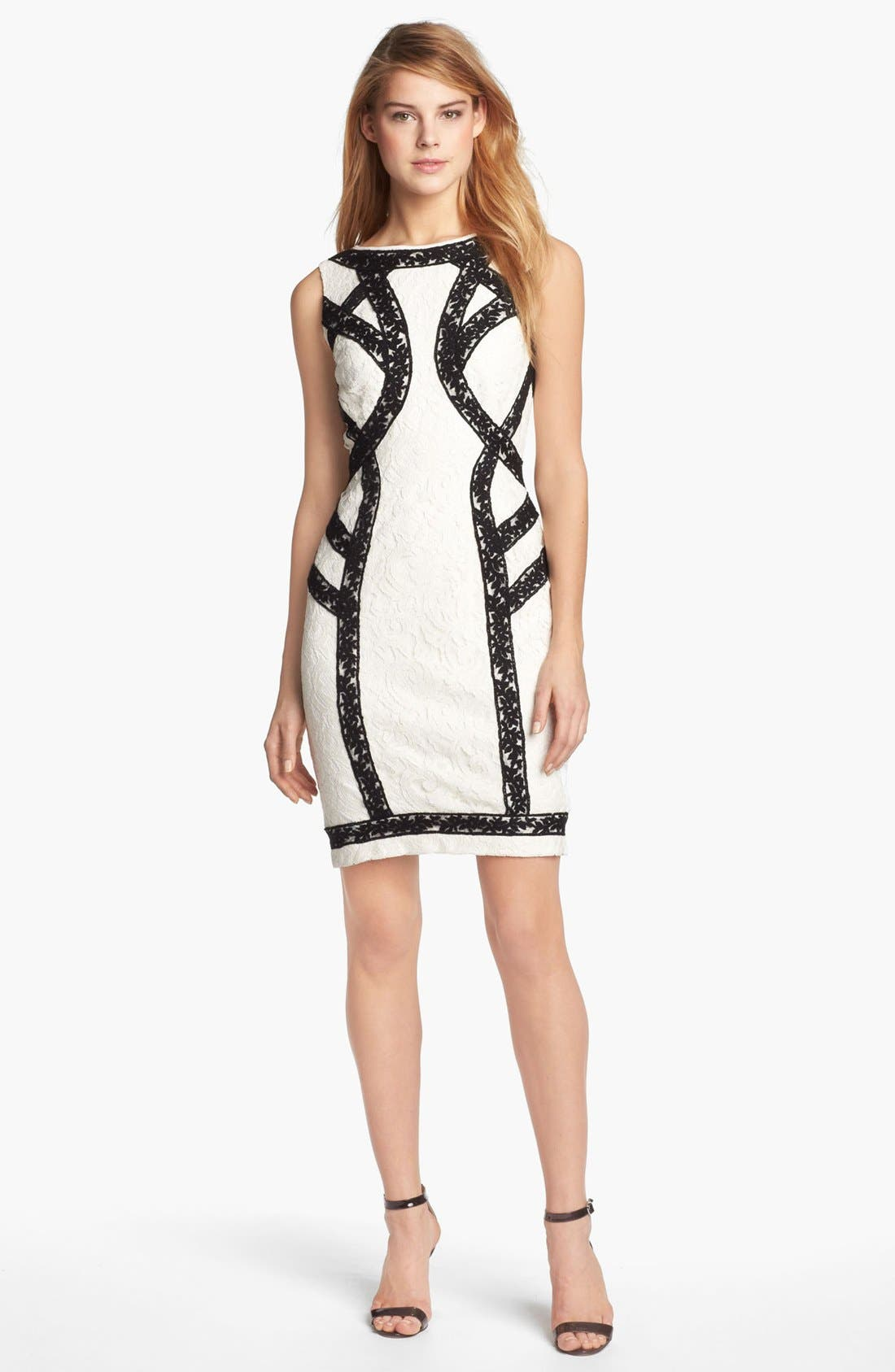 Alternate Image 1 Selected - Tadashi Shoji Two Tone Lace Sheath Dress