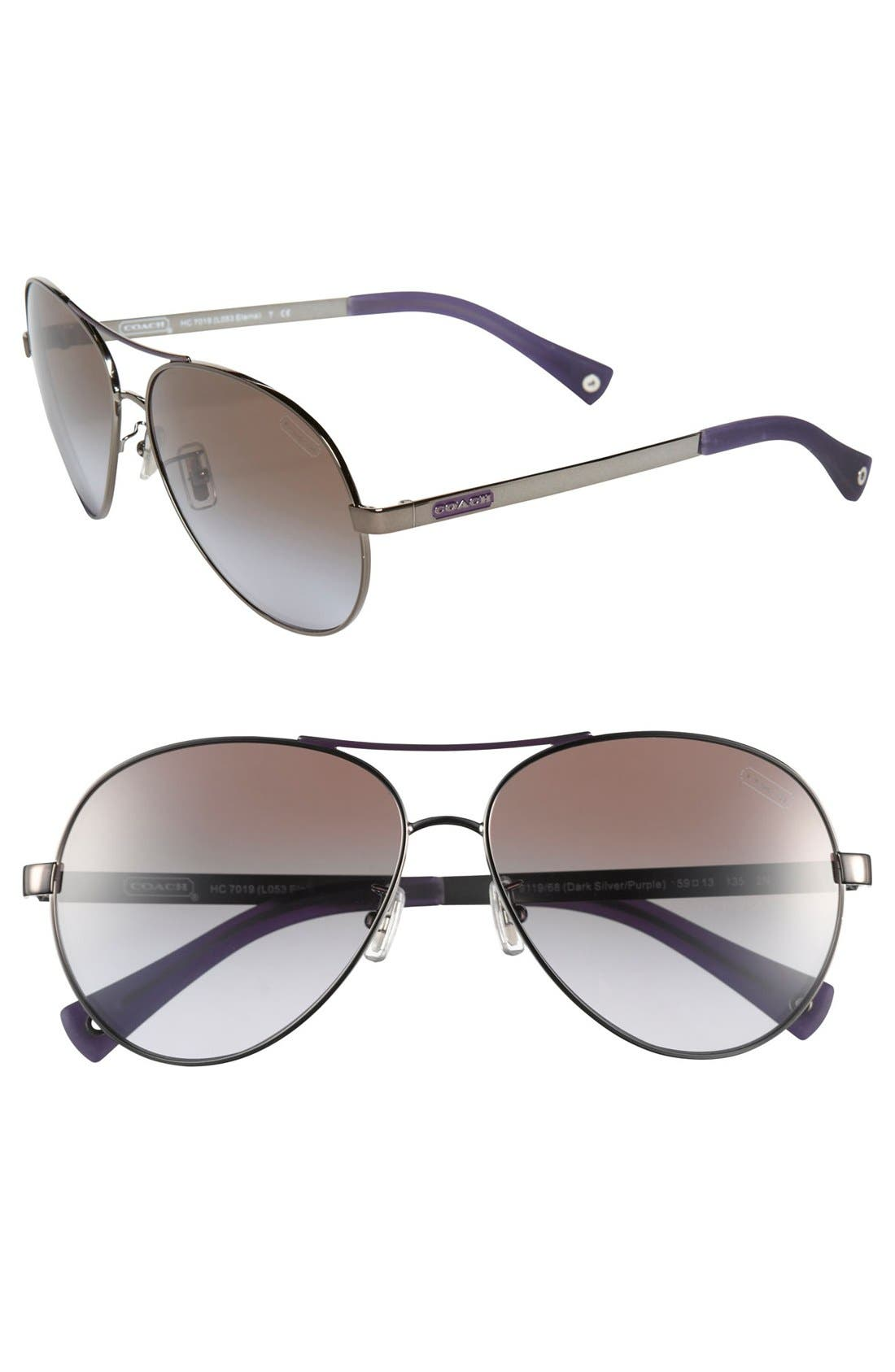 Main Image - COACH 'Elaina' 59mm Aviator Sunglasses