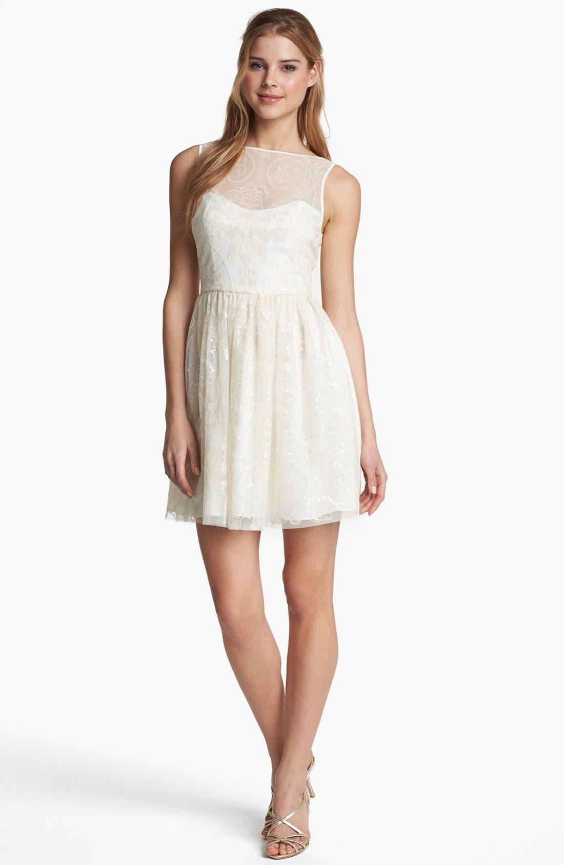 Main Image - Jill Jill Stuart Embellished Mesh Fit & Flare Dress