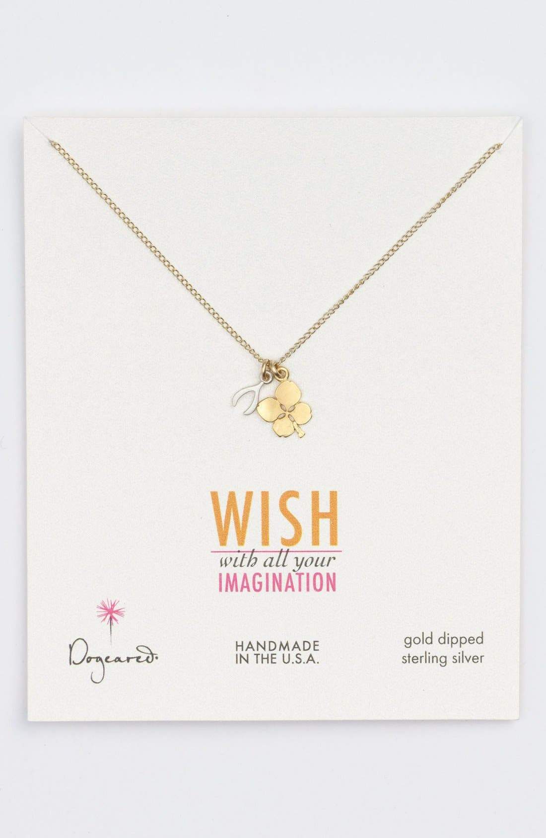 Main Image - Dogeared Clover & Wishbone Cluster Pendant Necklace (Nordstrom Exclusive)