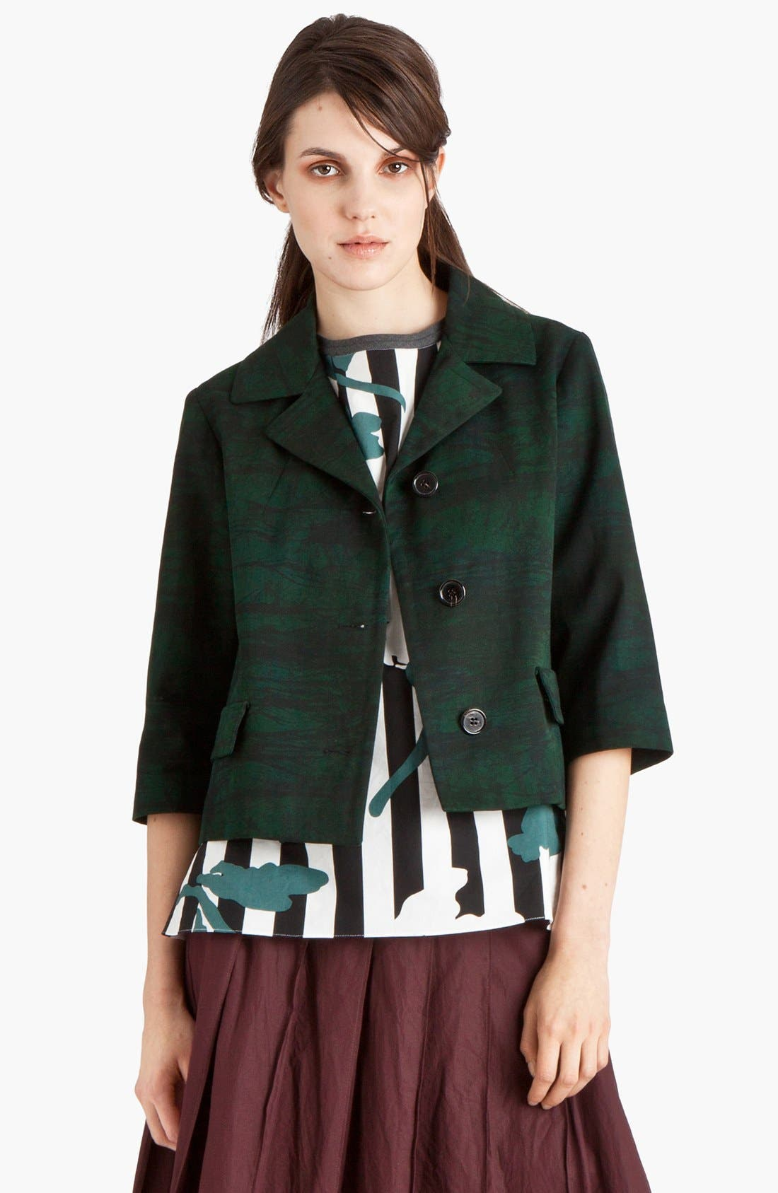 Alternate Image 1 Selected - Marni Print Gabardine Crop Jacket