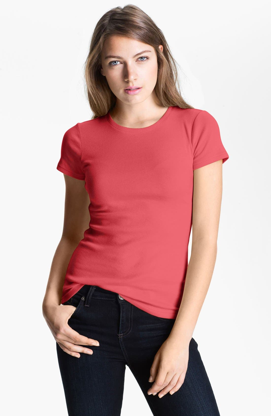 Alternate Image 1 Selected - Caslon® Short Sleeve Crewneck Tee (Petite)