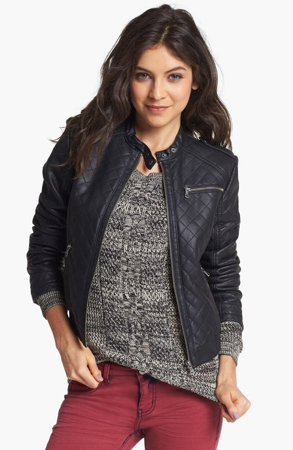 Collection B Quilted Faux Leather Bomber Jacket (Juniors) | Nordstrom : faux quilted leather jacket - Adamdwight.com