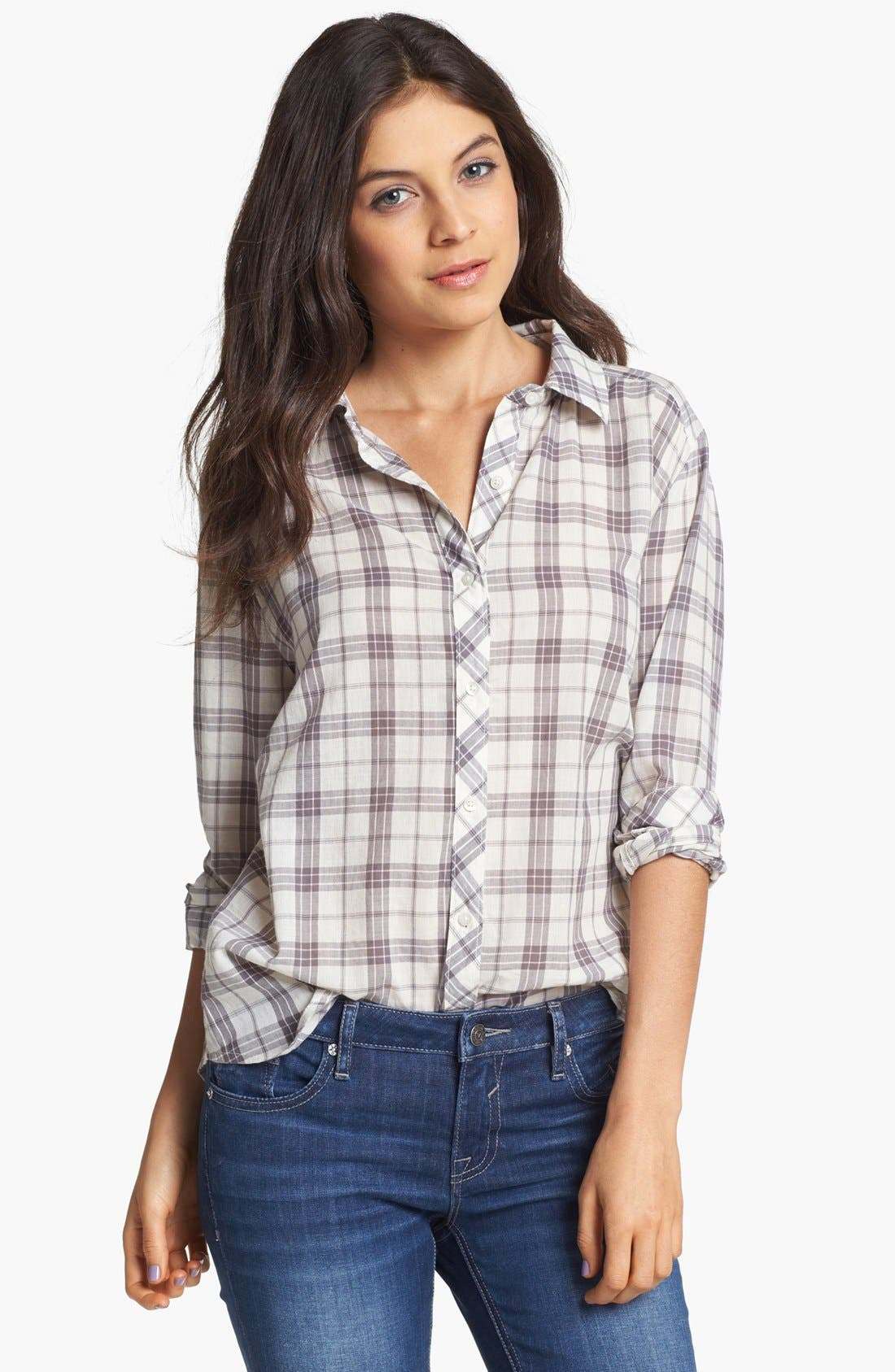 Alternate Image 1 Selected - Rubbish® Plaid Collared Shirt (Juniors) (Online Only)