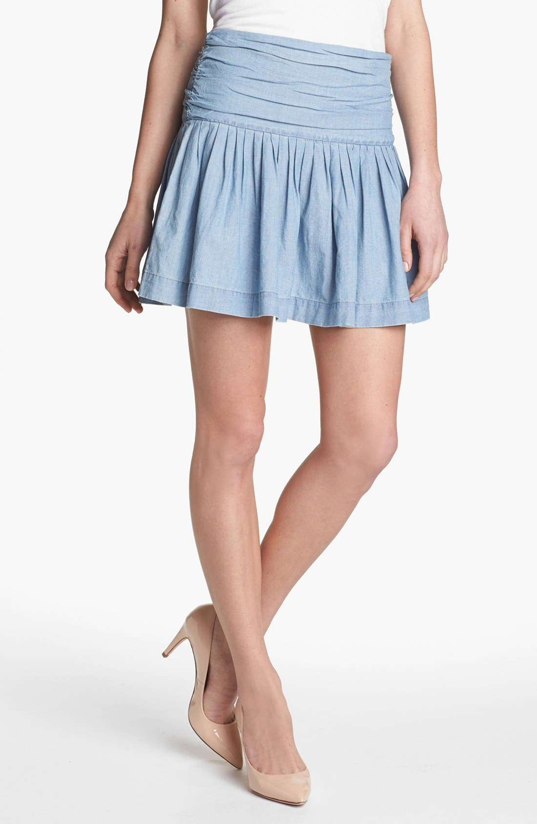 Main Image - Paige Denim 'Danni' Ruched Chambray Skirt