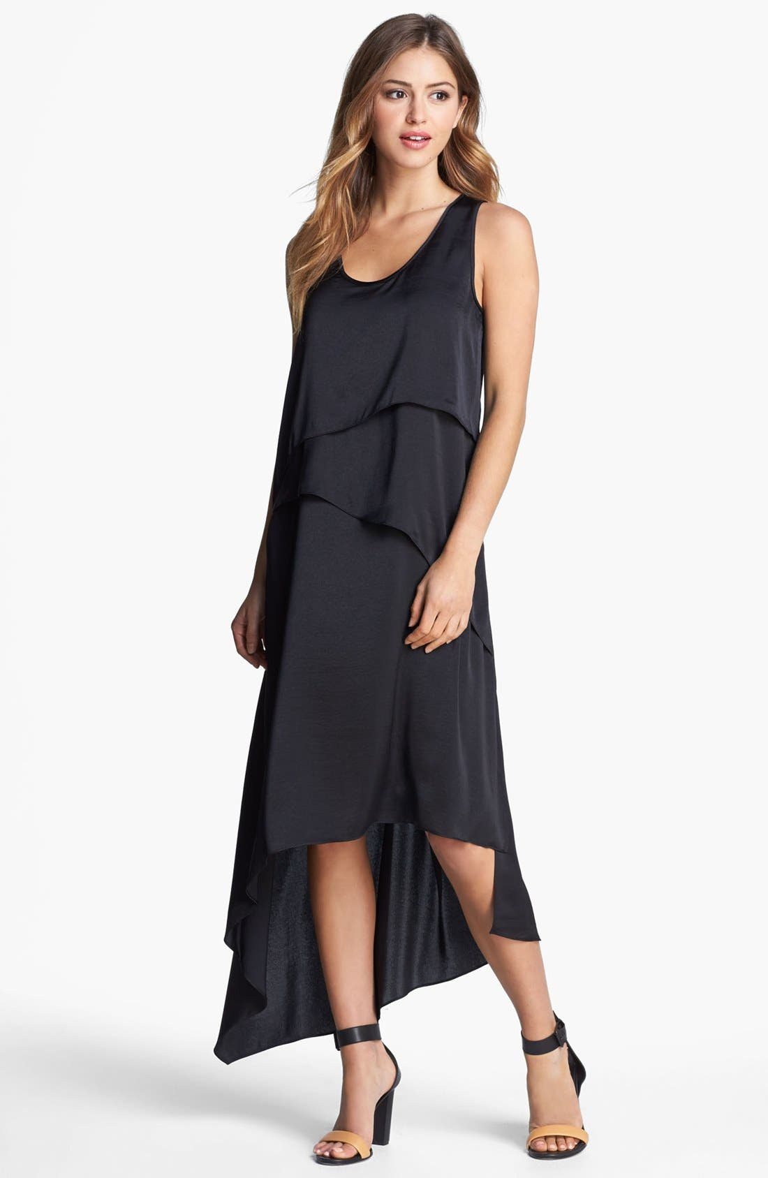 Alternate Image 1 Selected - BCBGMAXAZRIA Tiered Asymmetrical Hem Dress