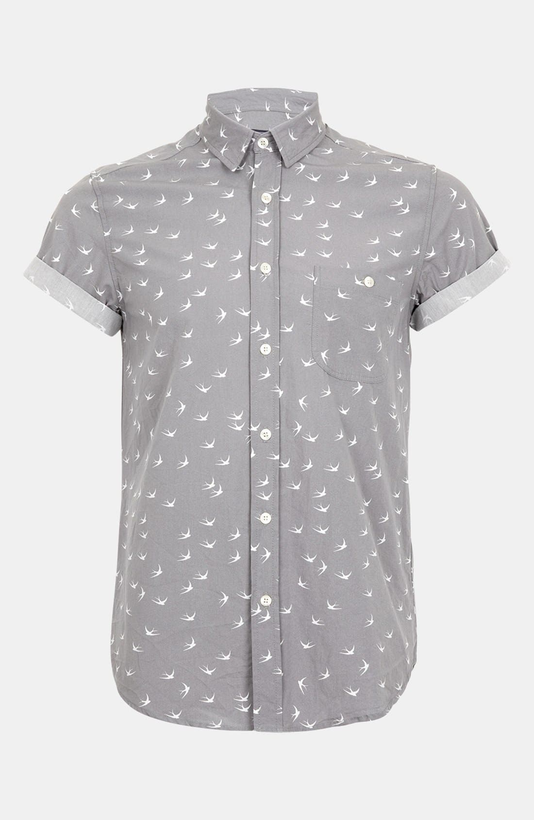 Main Image - Topman 'High Roller' Swallow Print Shirt
