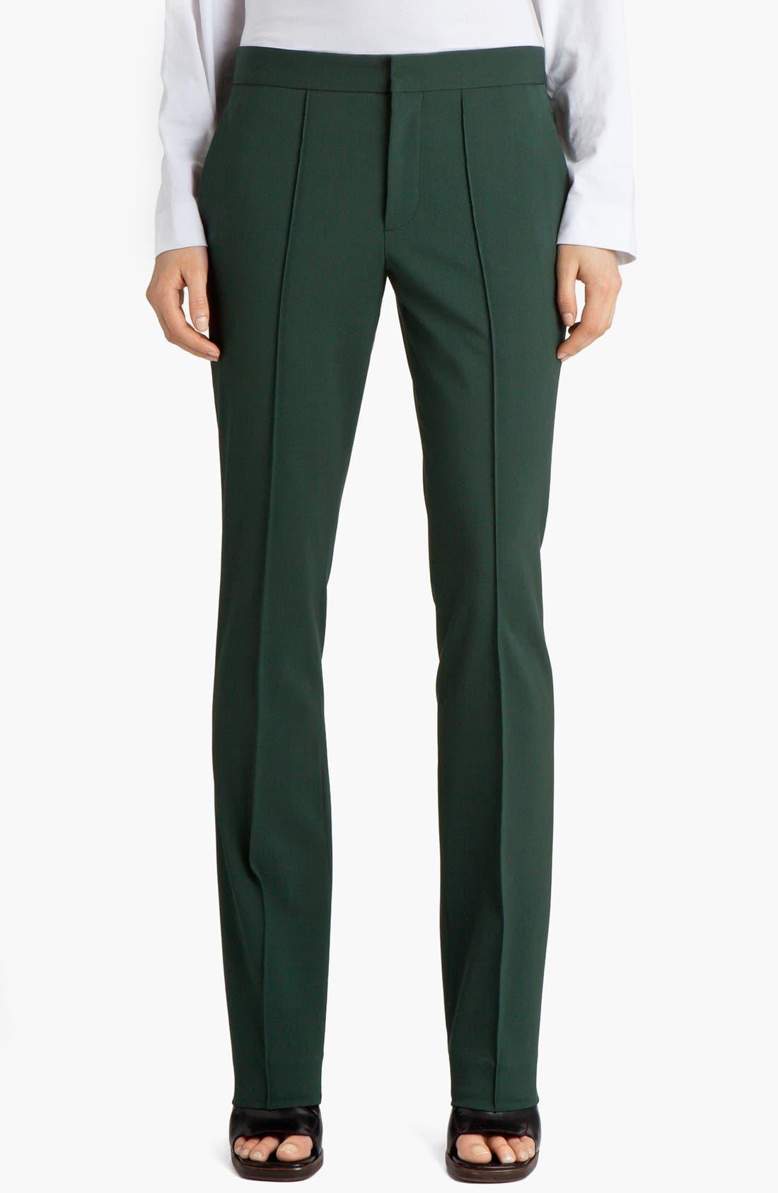 Narrow Leg Stretch Wool Pants,                         Main,                         color, Green