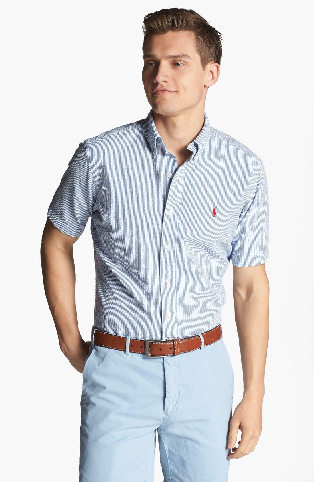 Alternate Image 1 Selected - Polo Ralph Lauren Short Sleeve Seersucker Sport Shirt