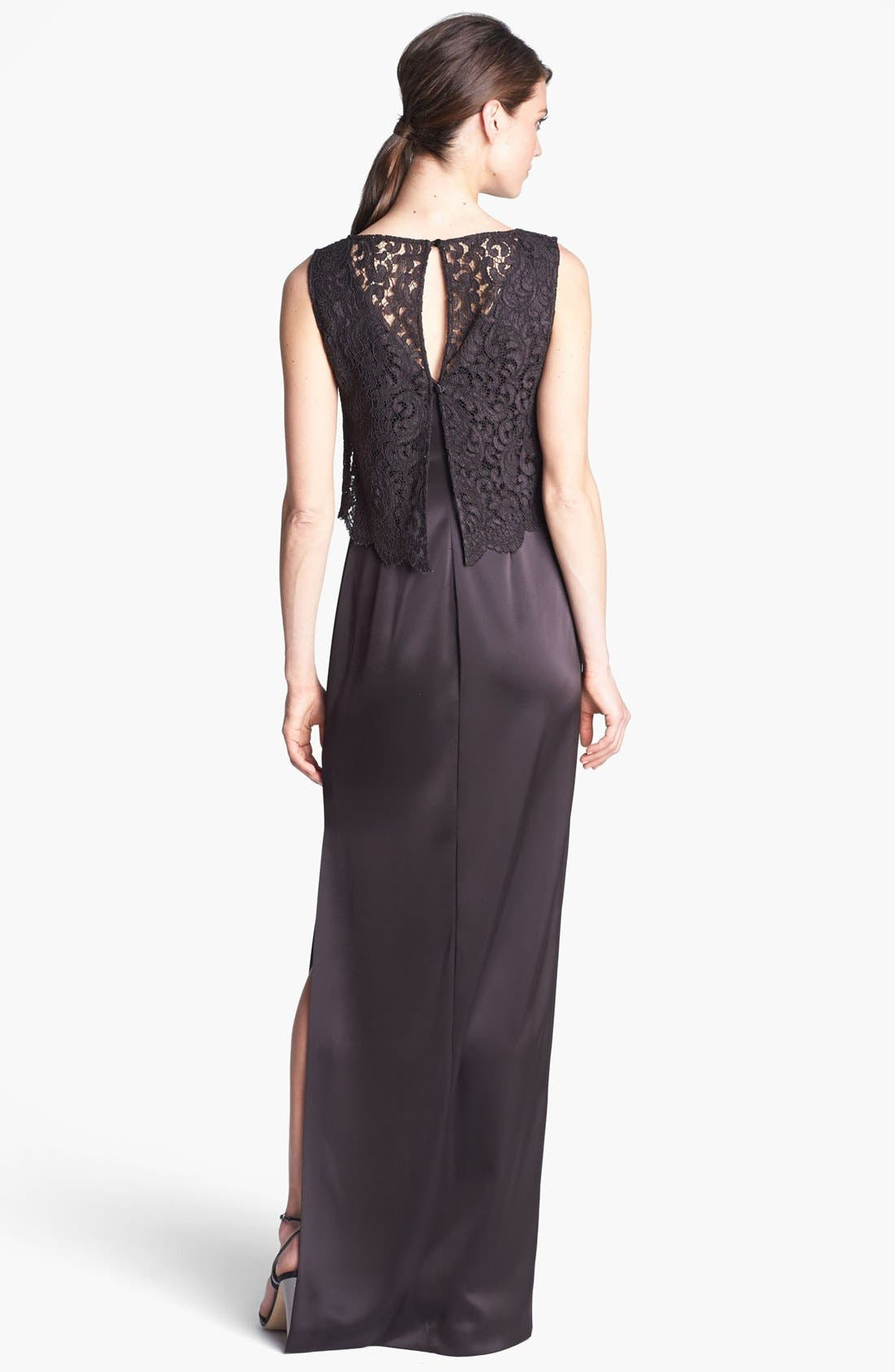 Alternate Image 2  - St. John Collection Plume Lace Overlay Liquid Satin Gown