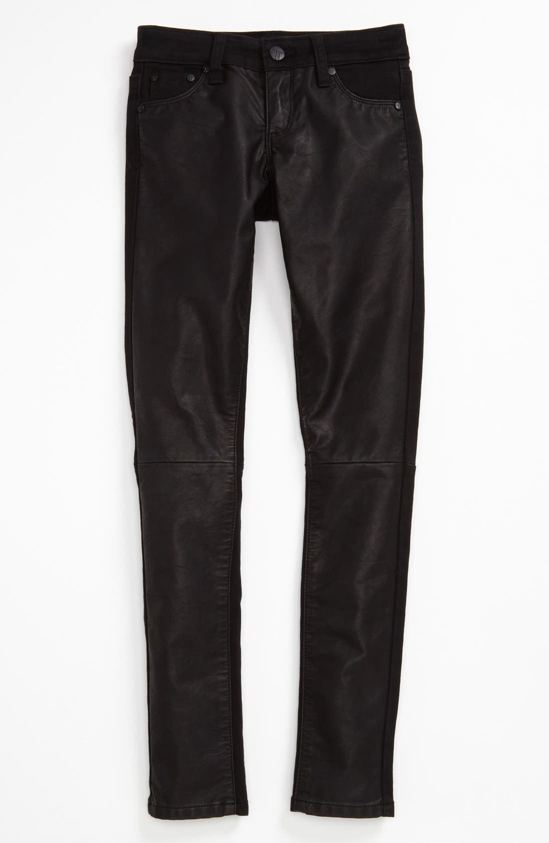 Alternate Image 1 Selected - Tractor Faux Leather Front Leggings (Big Girls)