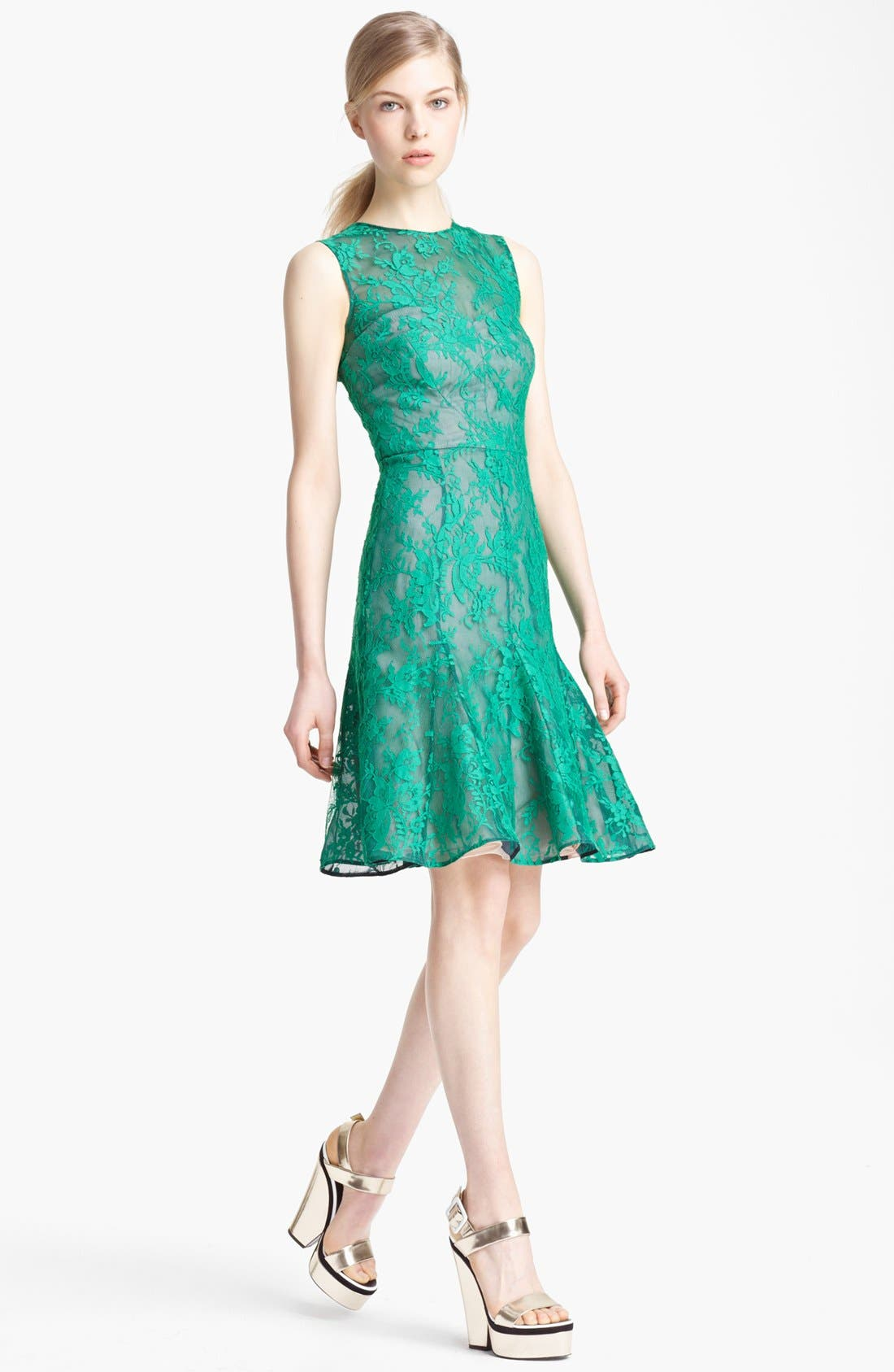 Main Image - Erdem Lace Overlay Full Skirt Dress