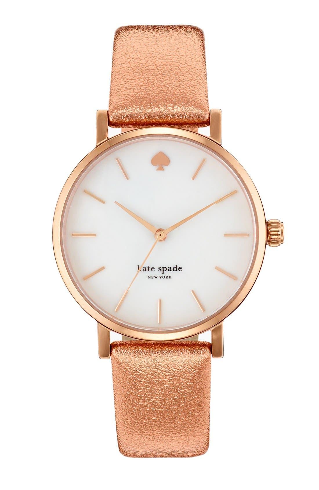 Main Image - kate spade new york 'metro' metallic strap watch, 34mm