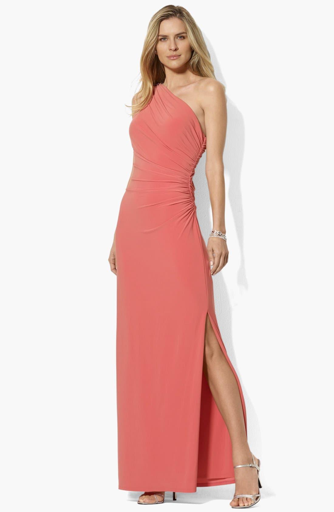 Main Image - Lauren Ralph Lauren One Shoulder Matte Jersey Dress (Regular & Petite)