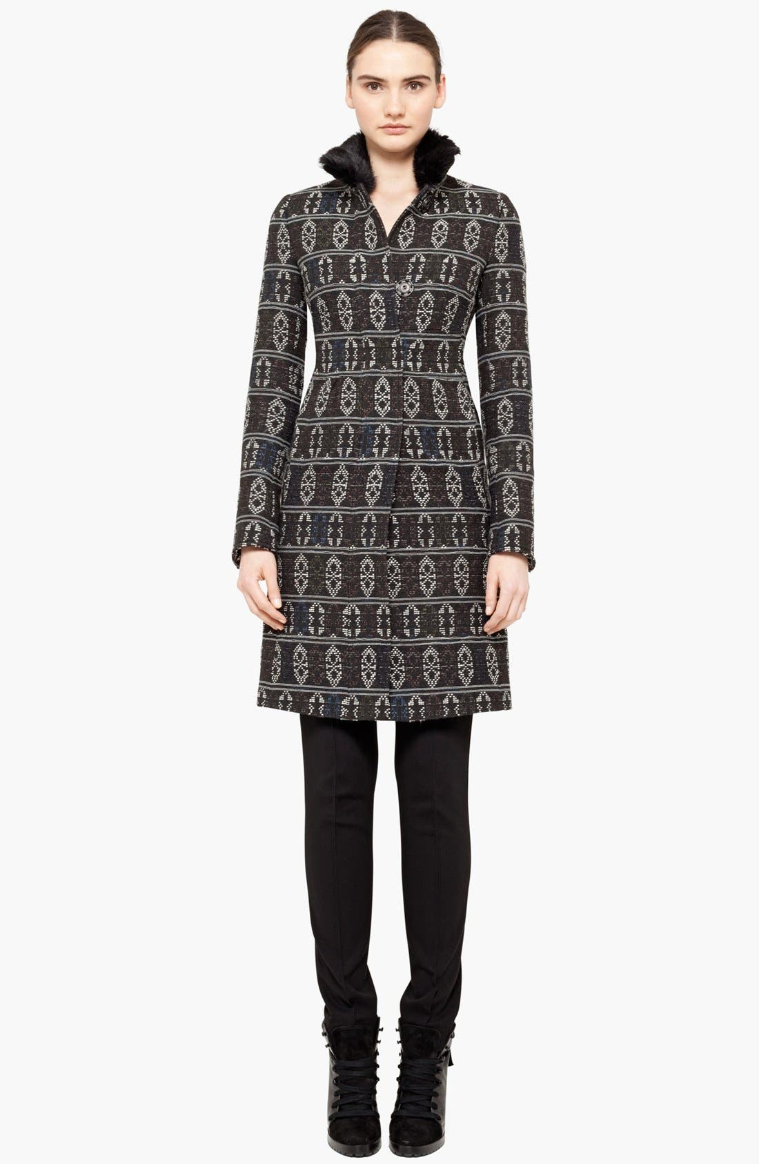 Alternate Image 1 Selected - Akris punto Jacquard Coat with Genuine Rabbit Fur Collar